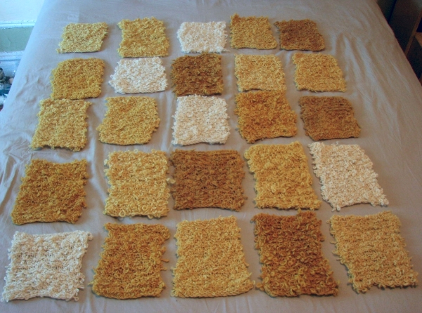 Layout of the natural and gradation dyed squares.