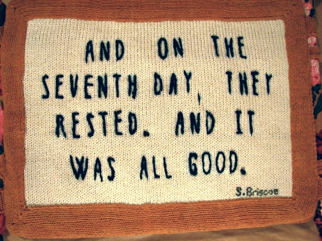 The reverse side of Sunday's pillow.