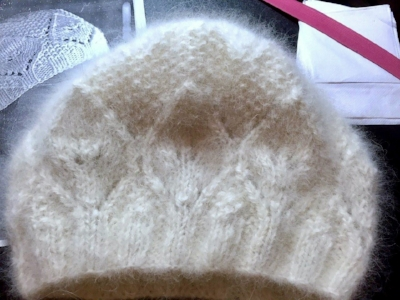 The finished hat. The feared  doggy smell  is removed in processing.
