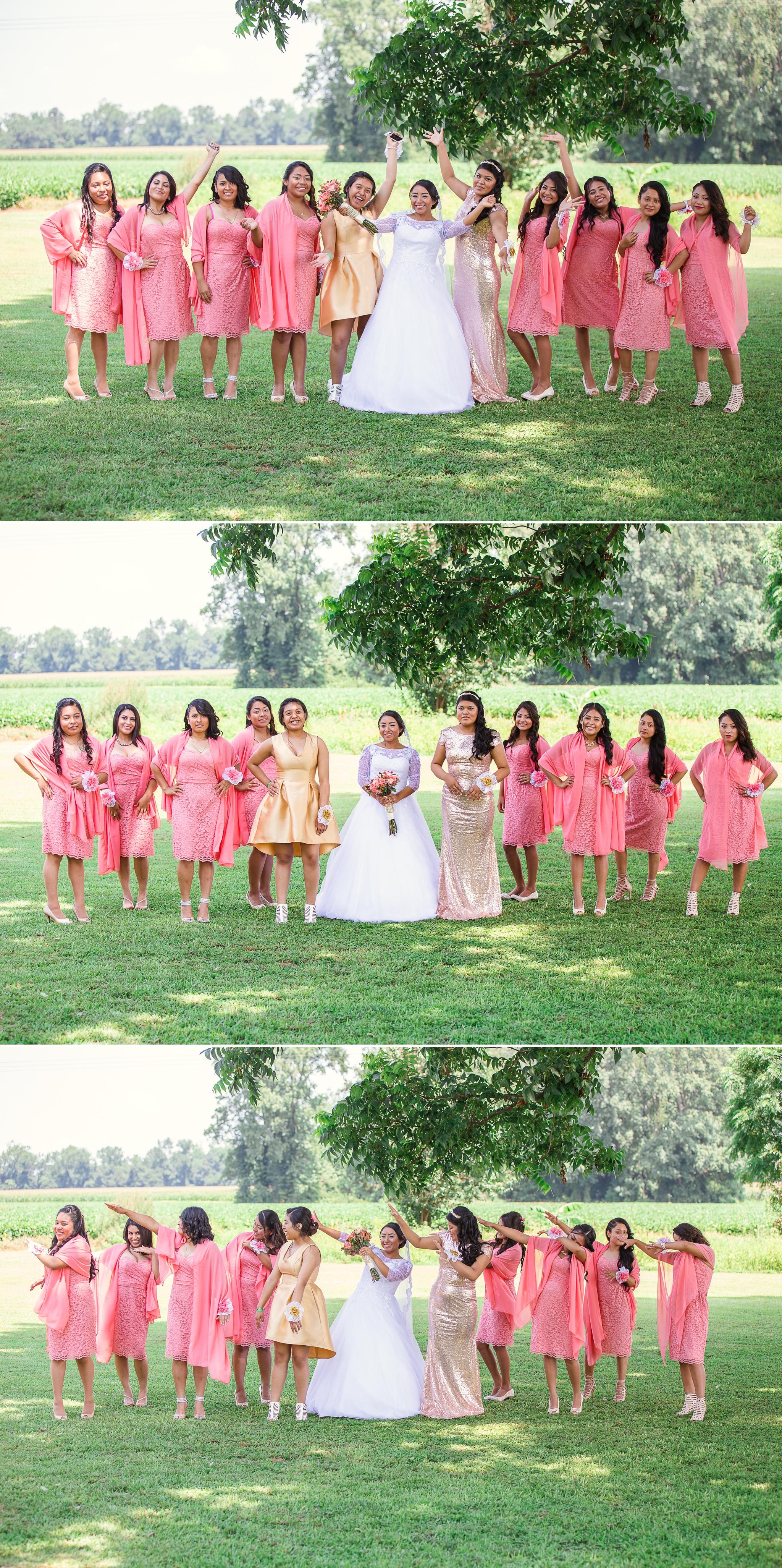 Bridesmaids and Bride Portrait St Pauls North Carolina Wedding Photography