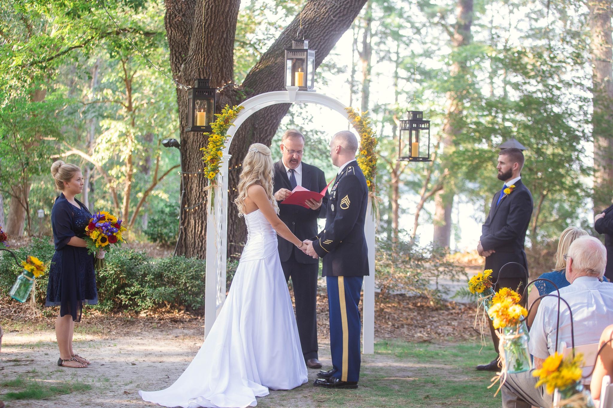 Wedding Ceremony at King Fisher Society by Laurinburg, North Carolina