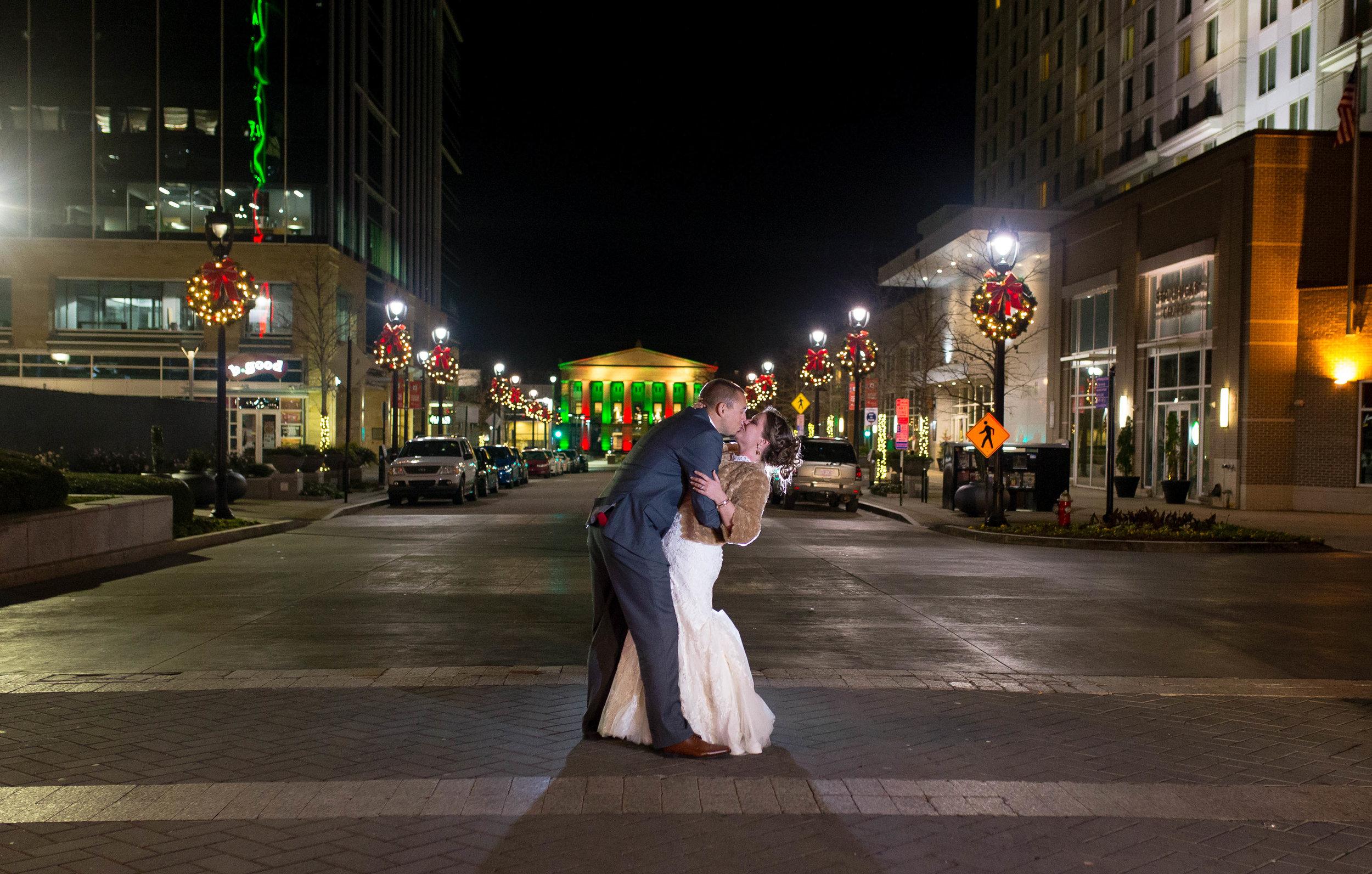 Raleigh Night wedding photography on fayetteville street