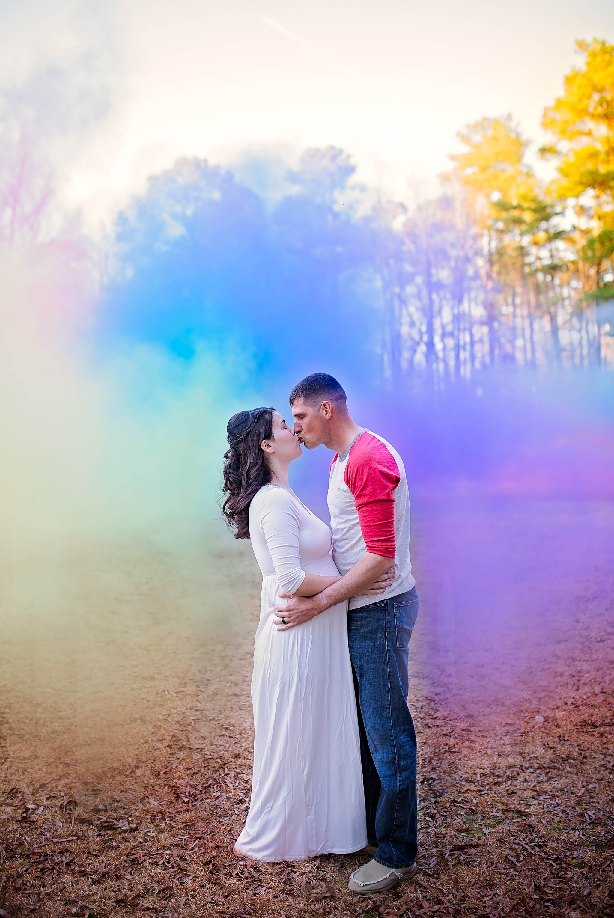 Rainbow Baby Maternity Photography Session with Smoke Bombs in Fayetteville North Carolina