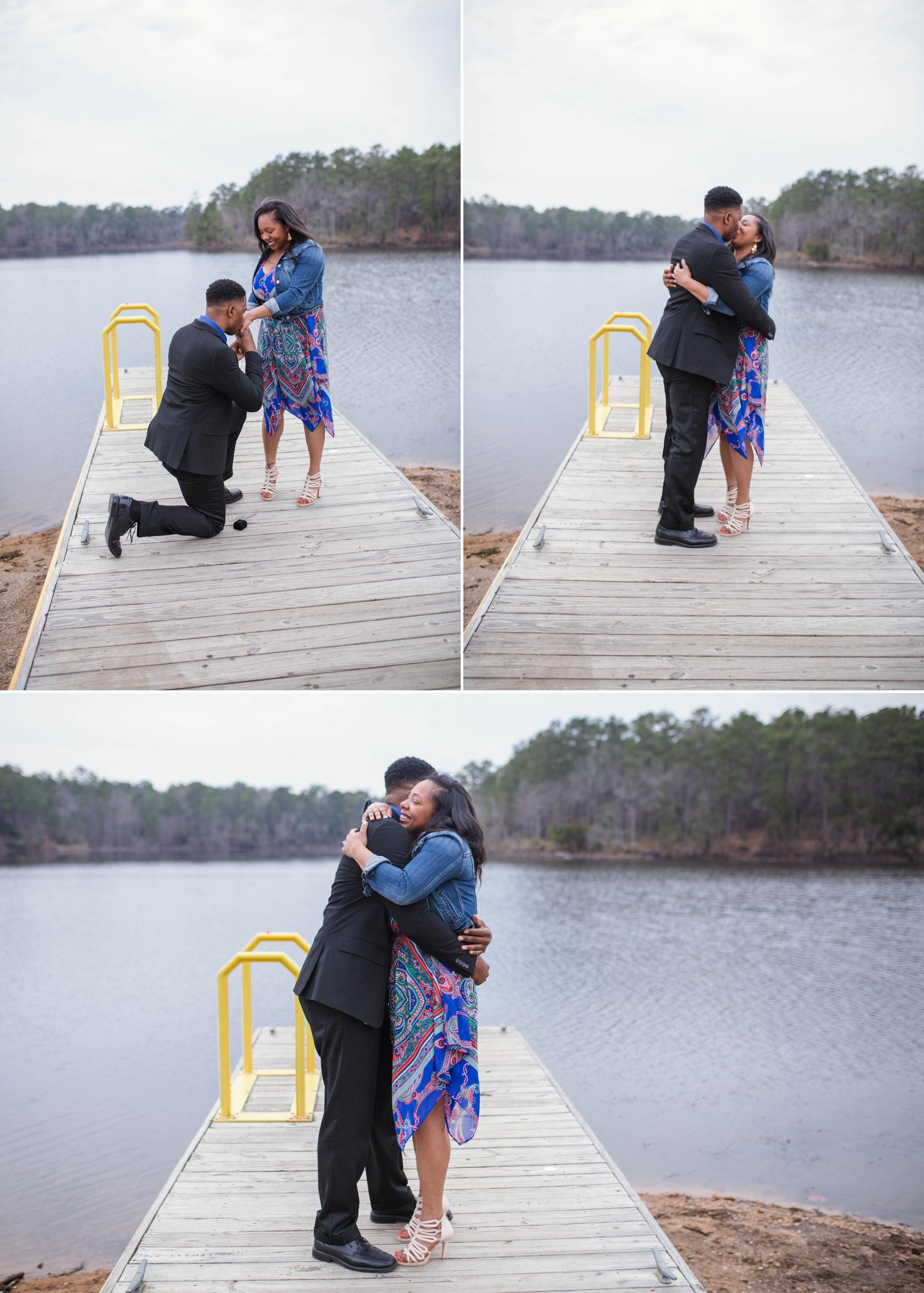 Surprise Proposal at Lake Rim - Fayetteville North Carolina Engagement Photographer