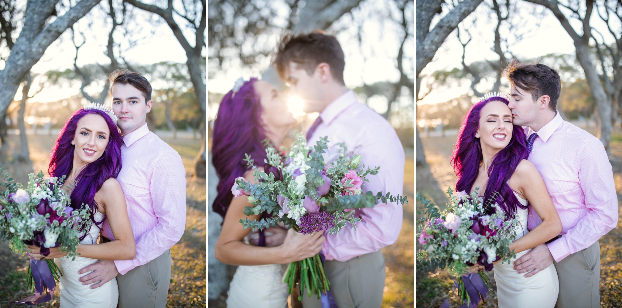 Fort Fisher NC Wedding Photography in Kure Beach - Johanna Dye - Mermaid Inspired - Purple