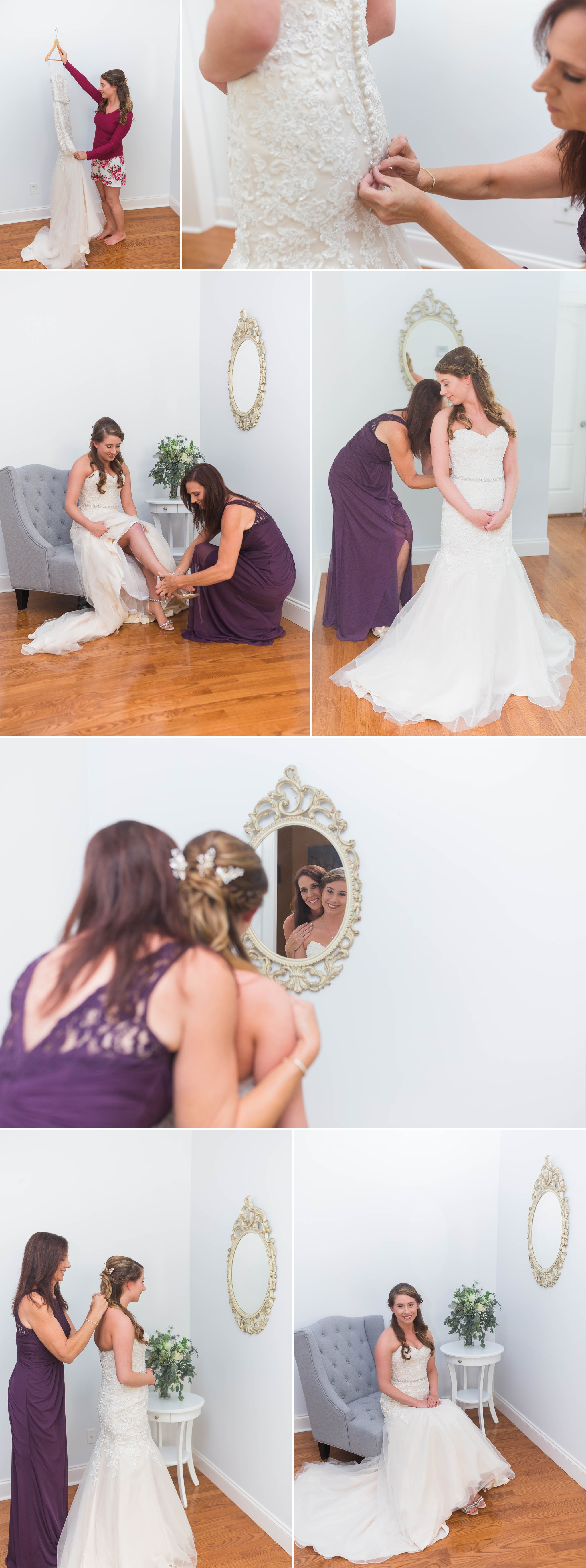 Bride and Mother getting ready and putting on dress - Chatham Mills in Pittsboro North Carolina Wedding Photography - Johanna Dye - Meredith and Brandon
