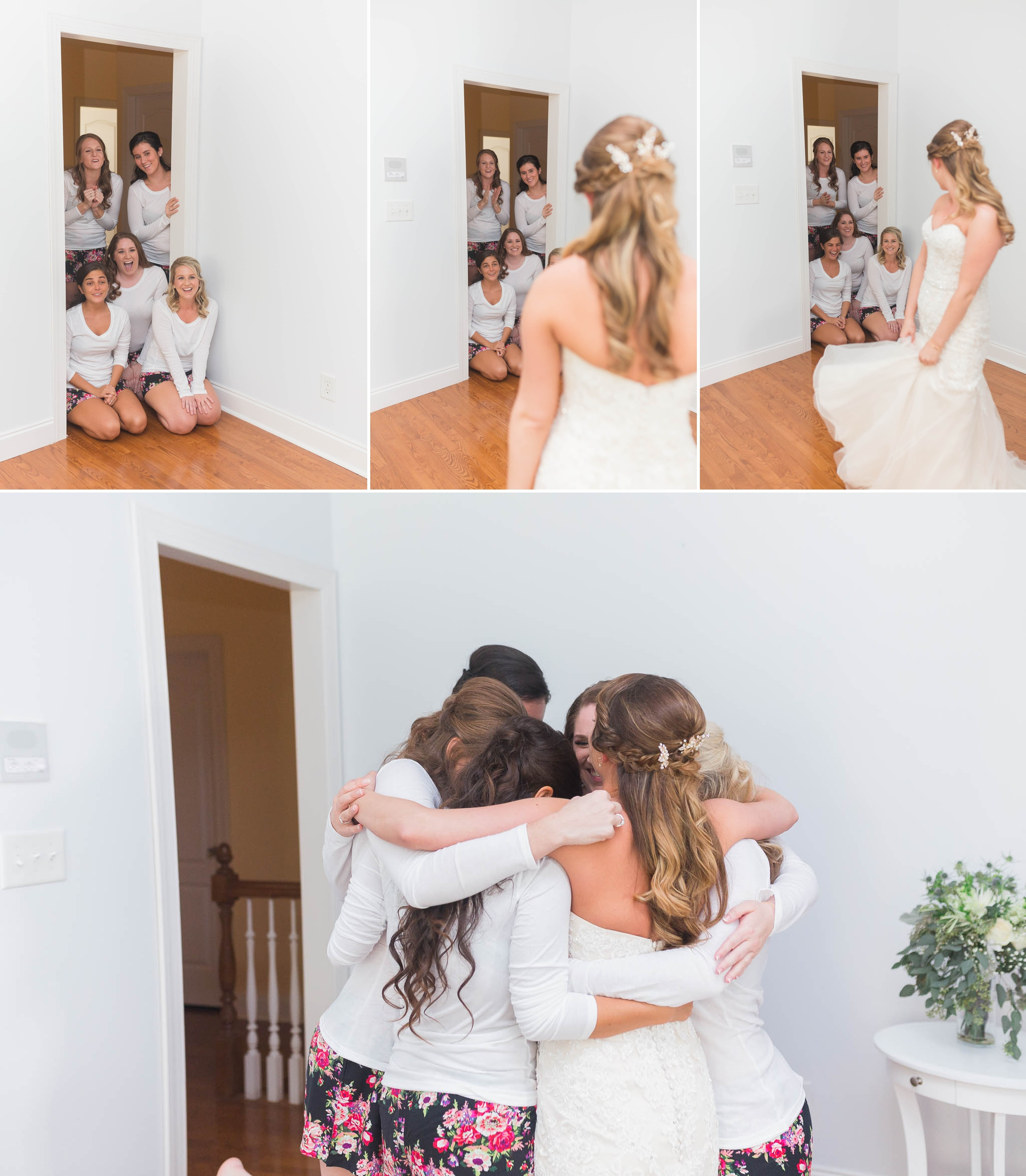 First look with the bridesmaids - Chatham Mills in Pittsboro North Carolina Wedding Photography - Johanna Dye - Meredith and Brandon