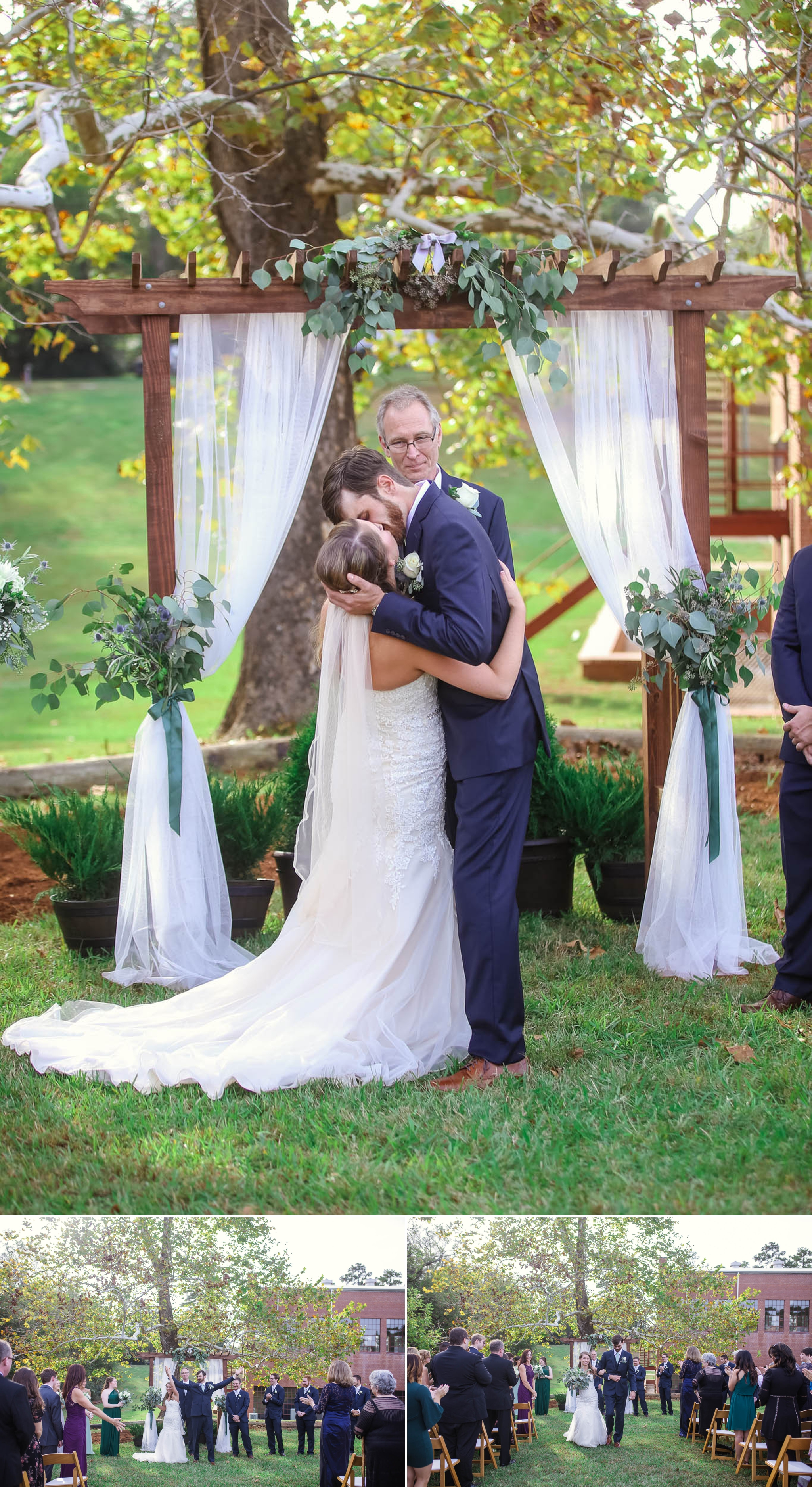 First Kiss at the ceremony between bride and groom at Chatham Mills in Pittsboro North Carolina Wedding Photography - Johanna Dye - Meredith and Brandon