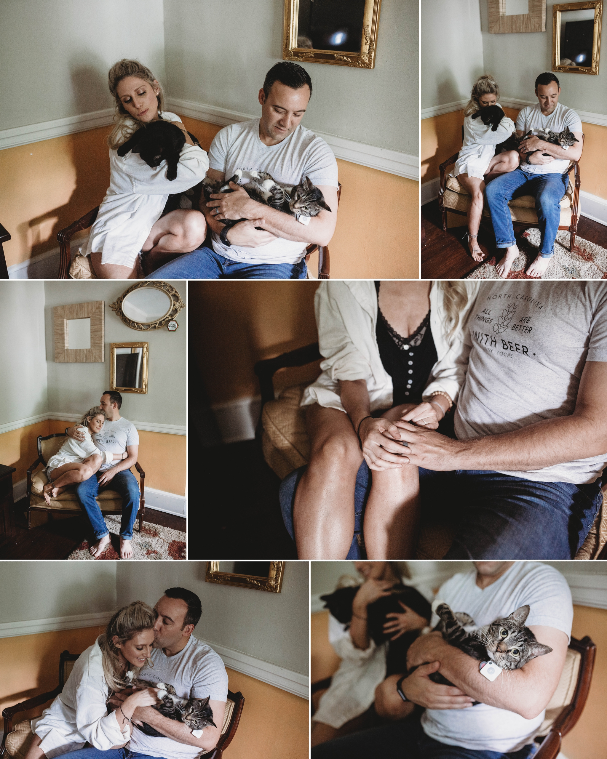 Brittany + Andrew - In Home Lifestyle Photography Session with cats - Fayetteville, North Carolina Engagement Photographer