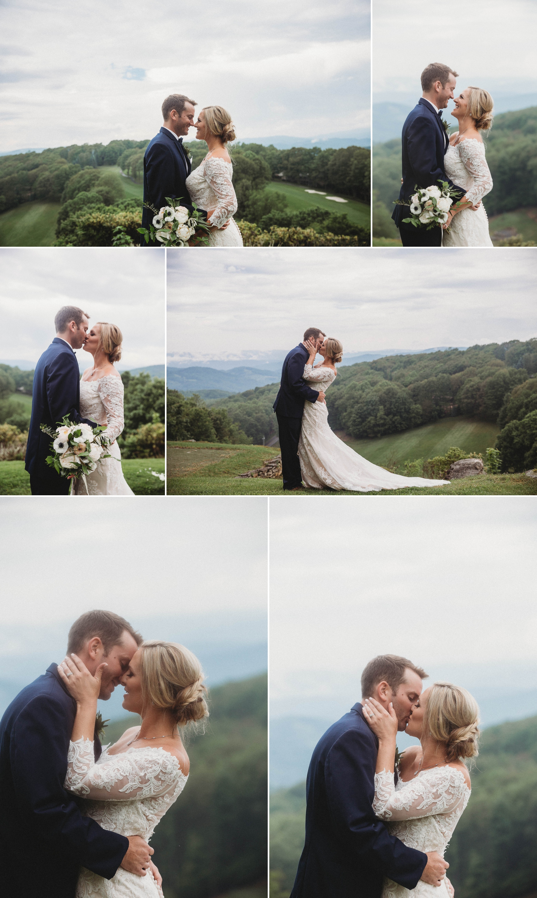 Portraits of Bride and Groom in the Mountains - Beech Mountain Club Wedding - Asheville North Carolina Photographer