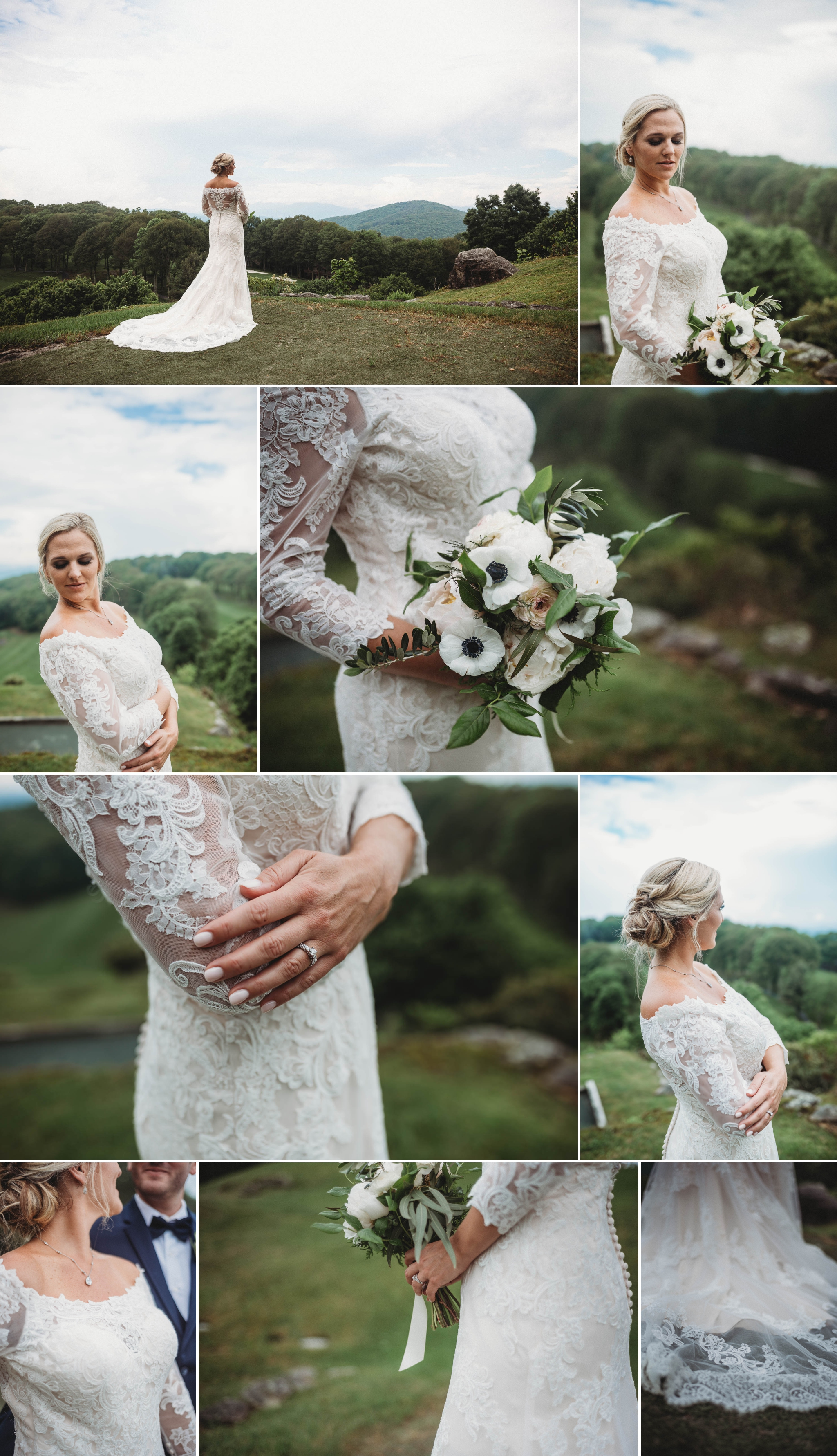Portraits of the Bride in the Mountains Beech Mountain Club Wedding - Asheville North Carolina Photographer