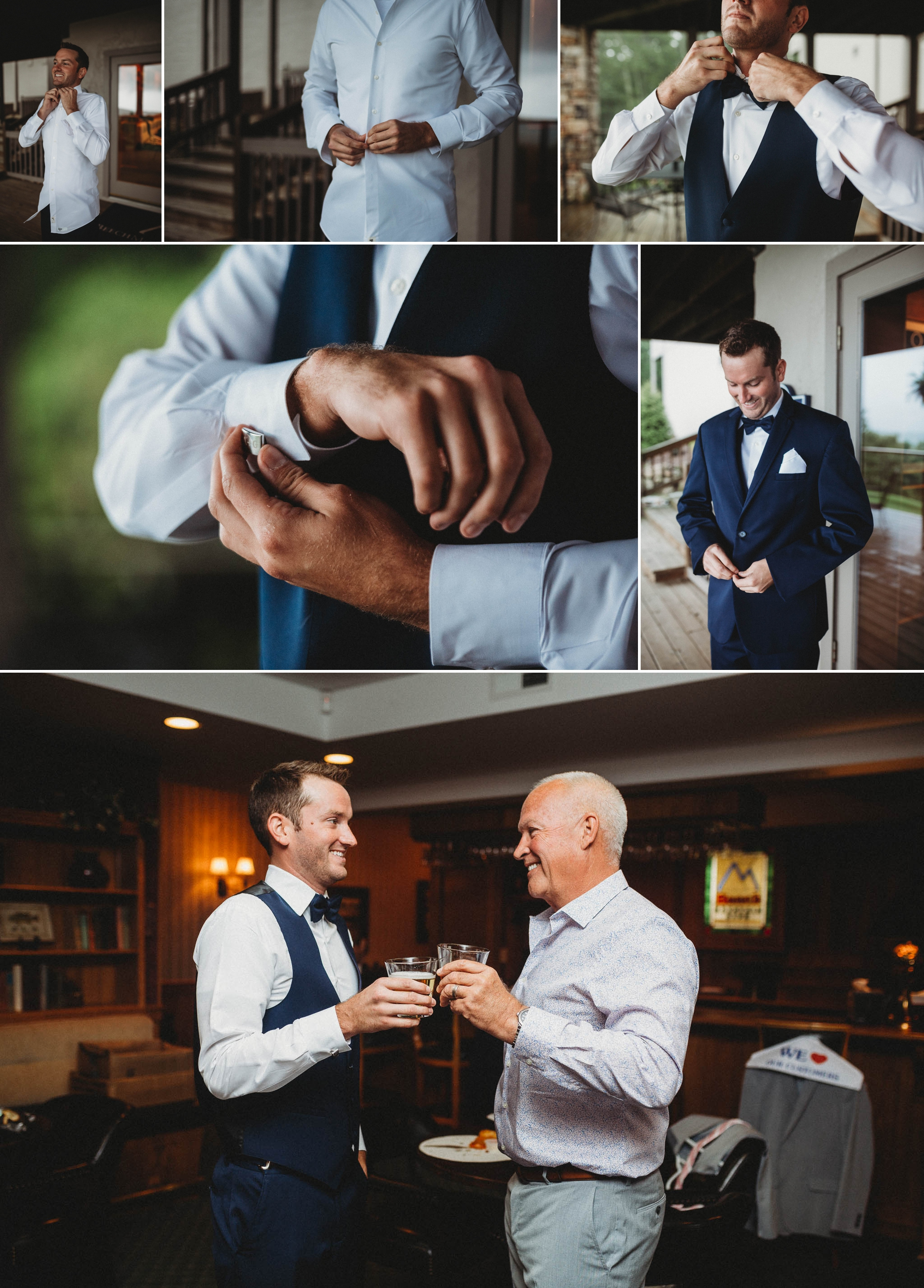 Groom getting ready Beech Mountain Club Wedding - Asheville North Carolina Photographer