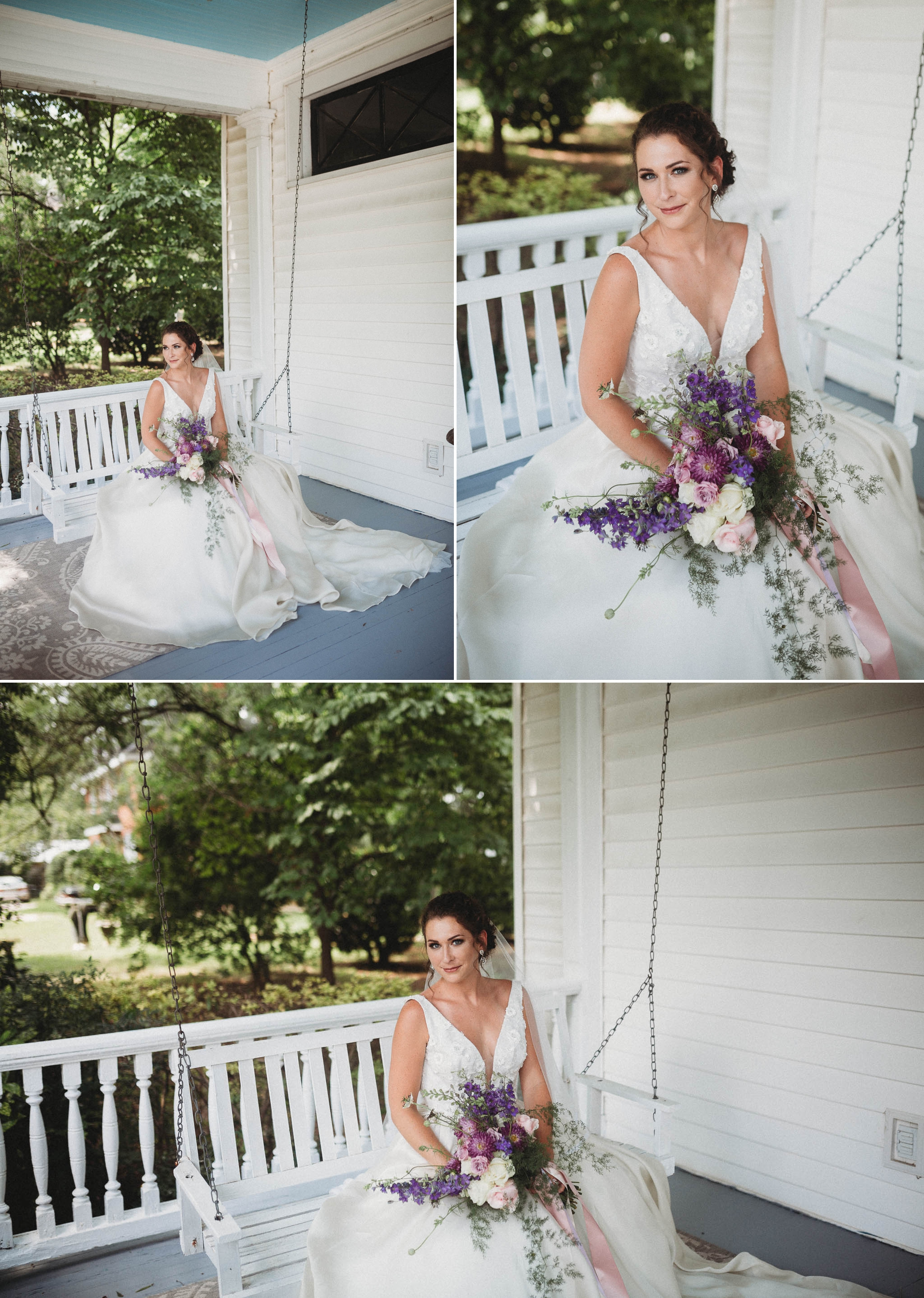 The bride on the porch swing of an old southern mansion Raleigh North Carolina Wedding Photographer