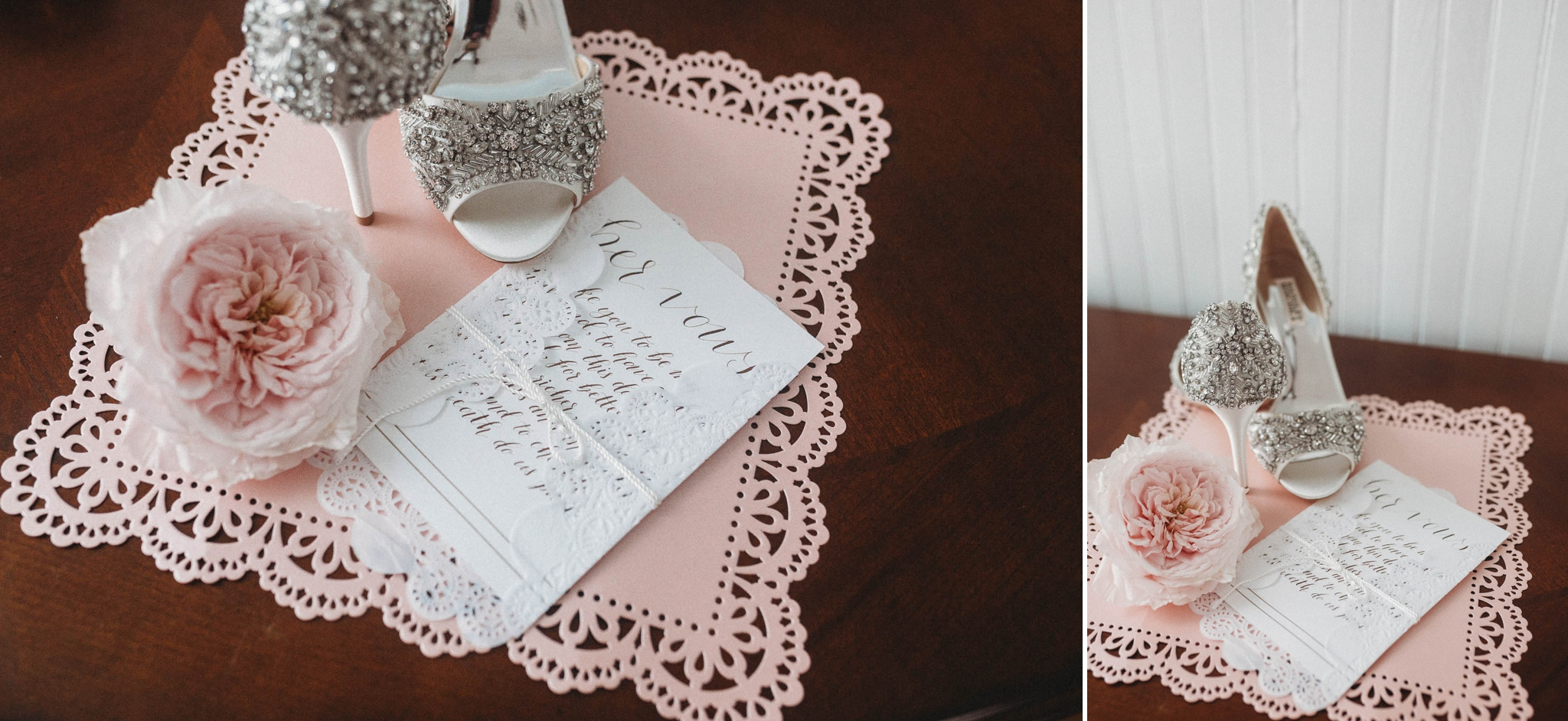 Details of the Bridal Shoes and her vows, Raleigh North Carolina Wedding Photographer