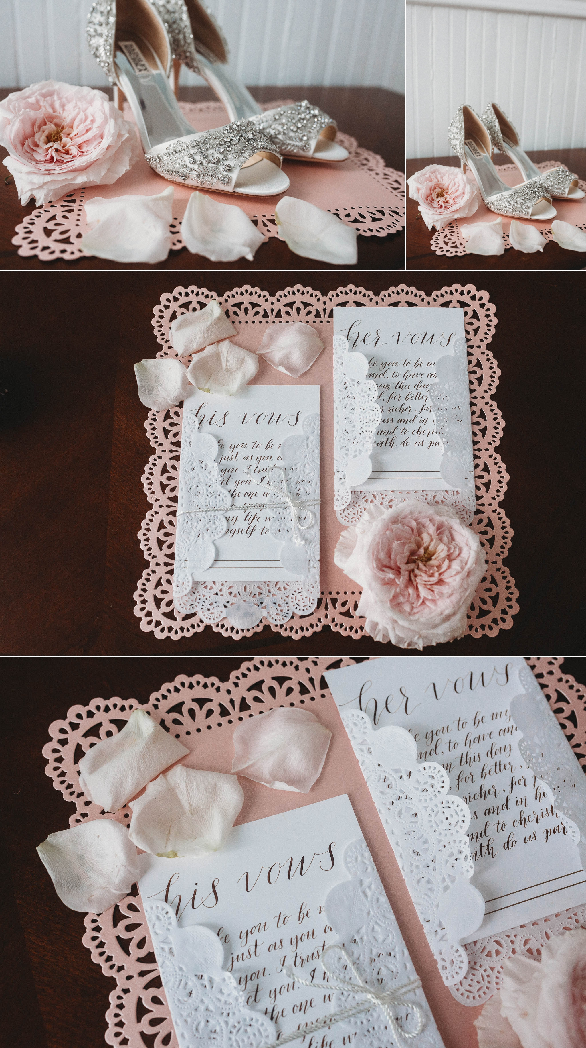 Details of the Brides Shoes and the vows as well as the invitations, Raleigh North Carolina Wedding Photographer
