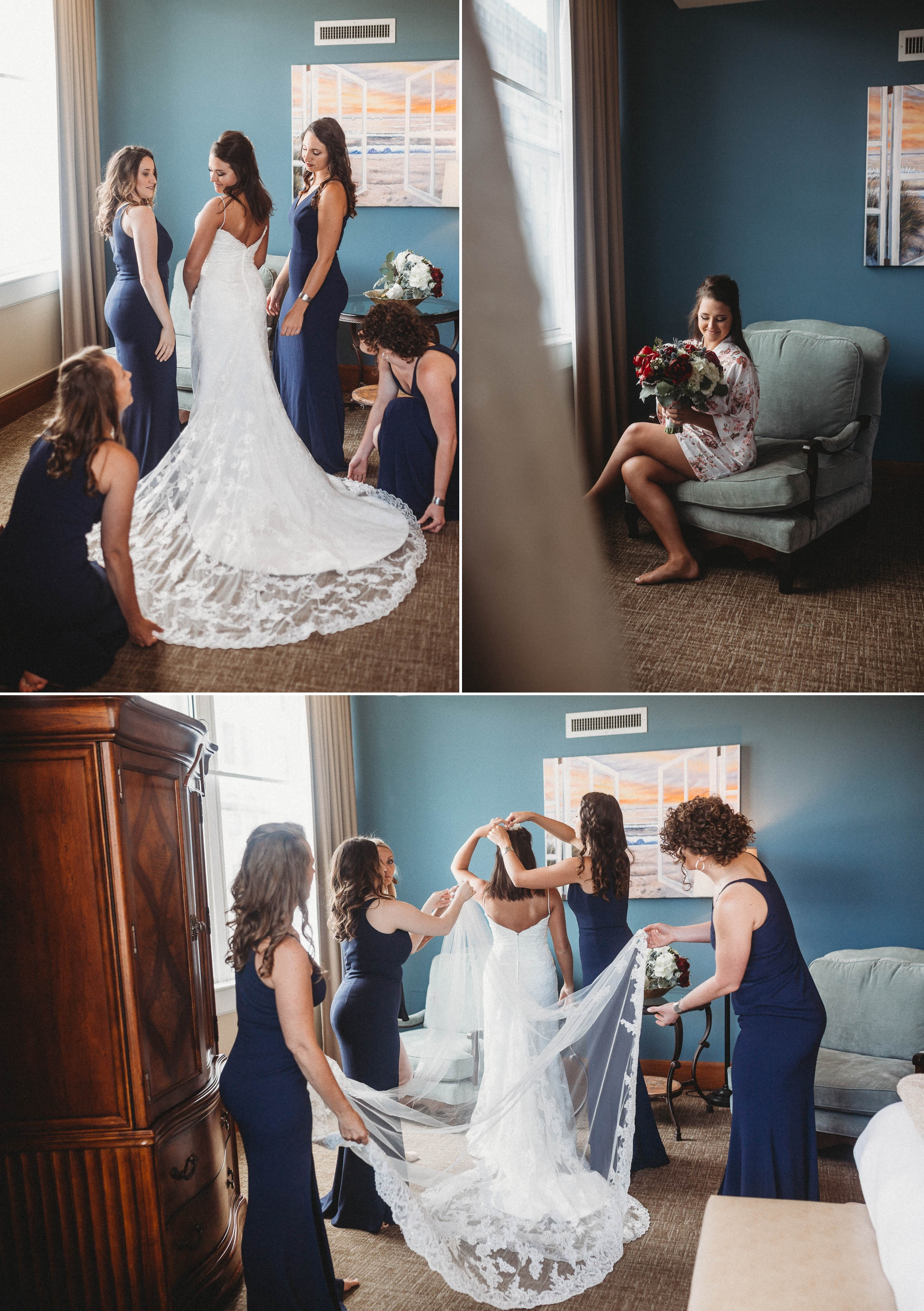Bride getting ready with her Bridesmaids at Haywood Park Hotel Downtown Megan + Jon - Run away Elopement at the Blue Ridge Park Way in Asheville, North Carolina