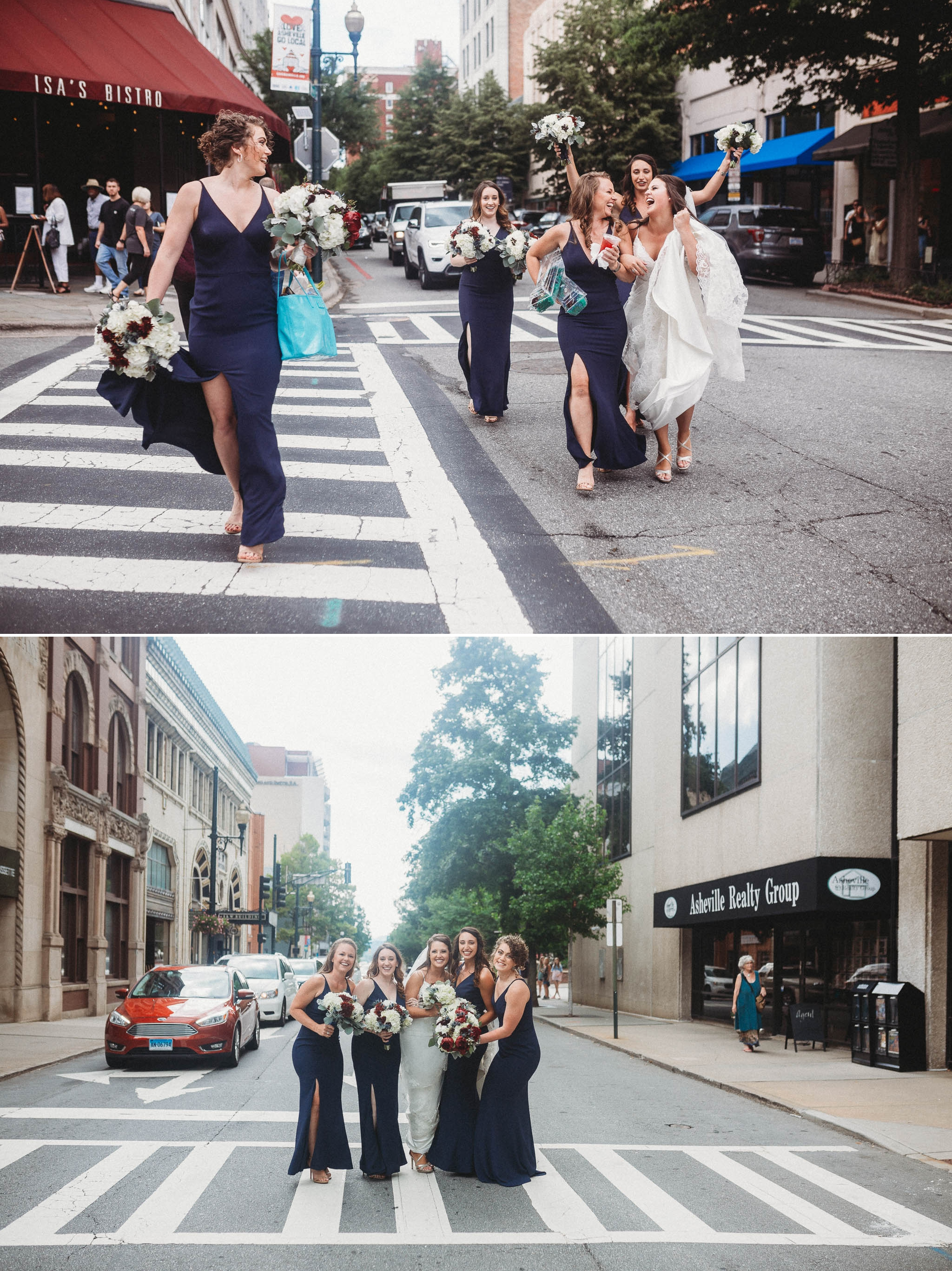 Bridesmaids and Bride in Downtown Asheville Megan + Jon - Run away Elopement at the Blue Ridge Park Way in Asheville, North Carolina
