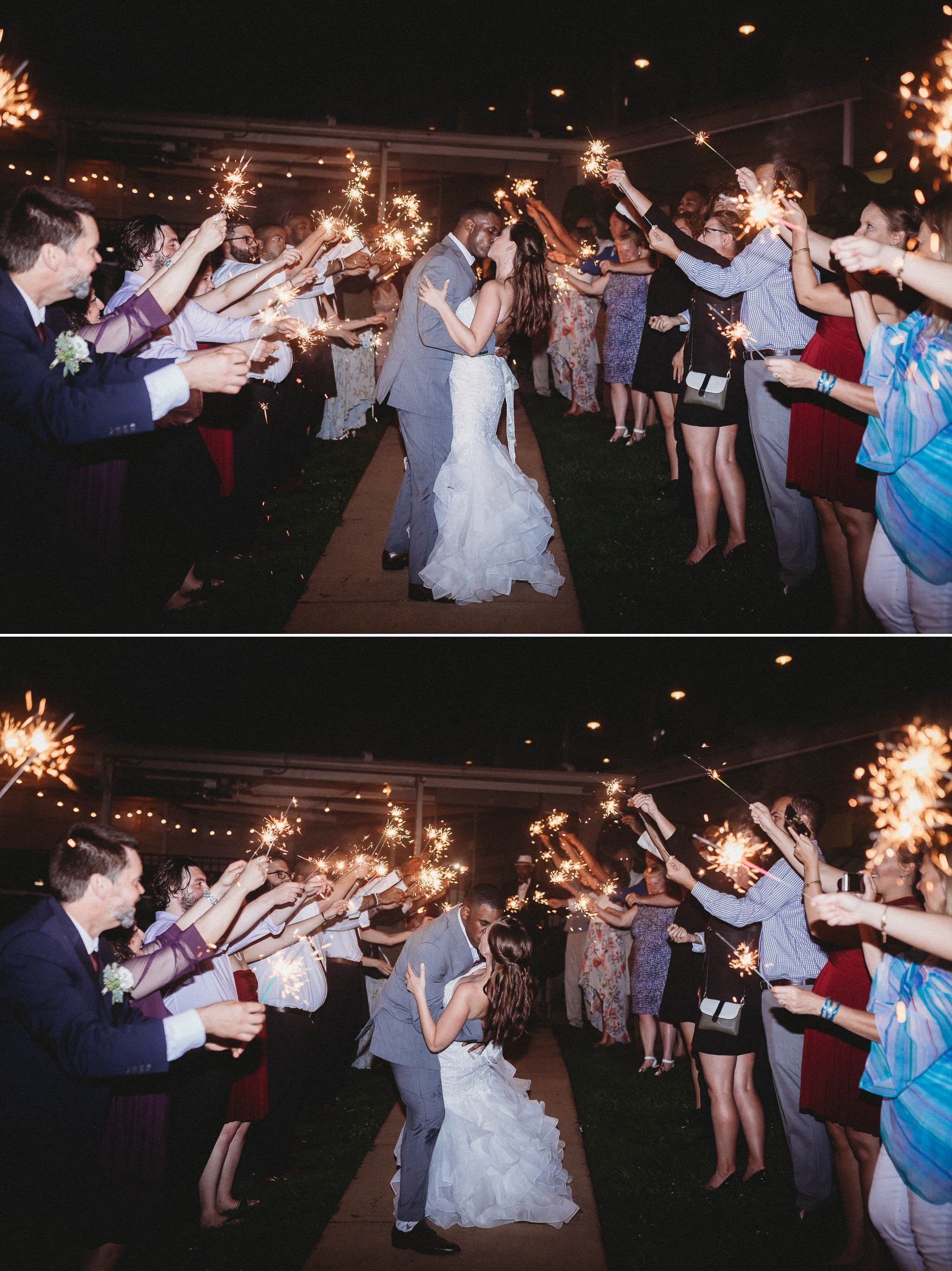 Sparkler Exit - Rachel + Jamison - Rumbling Bald Resort, Lake Lure, NC - Asheville, North Carolina Wedding Photographer