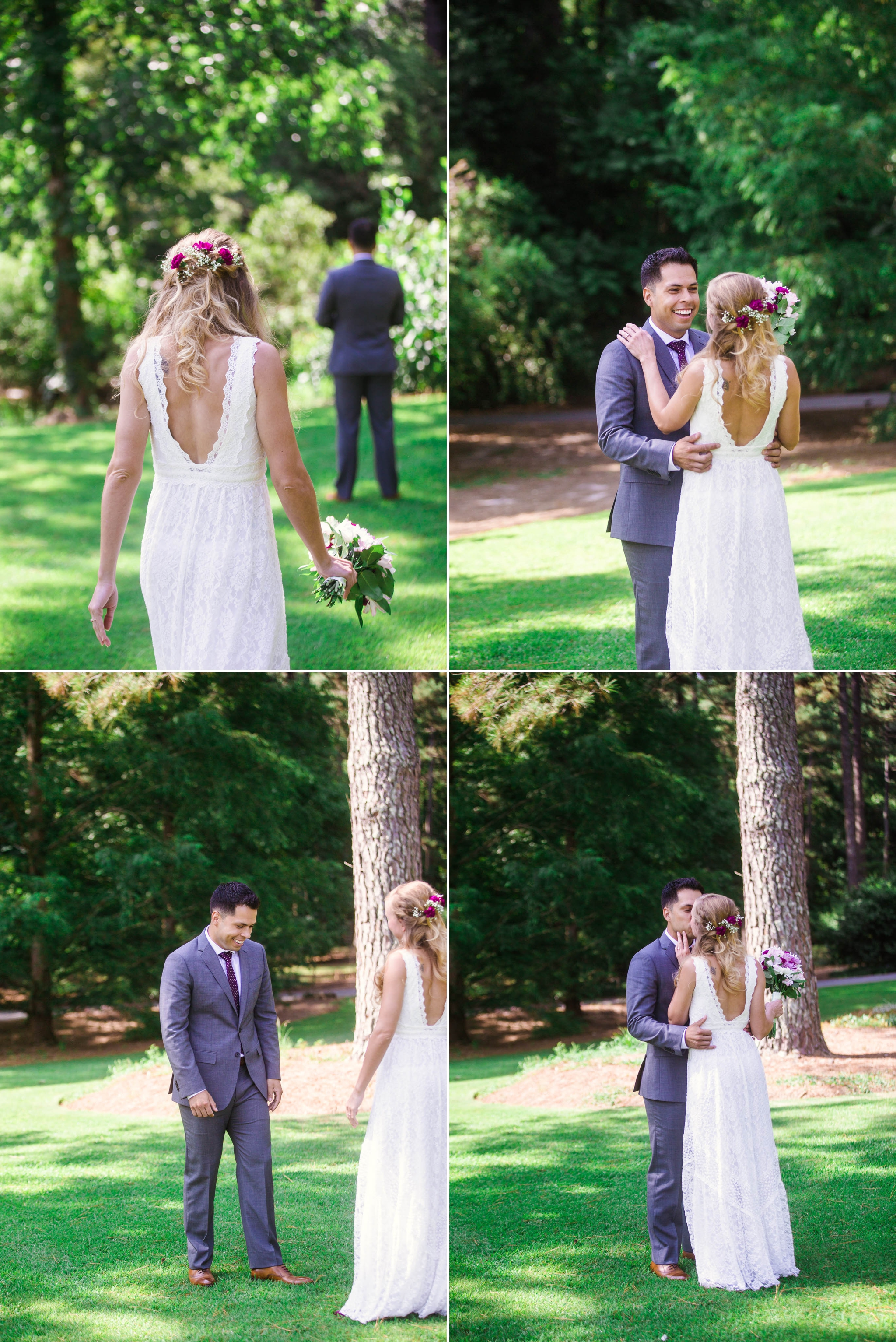 First Look between bride and groom - Kelly and Adam - Elopement at the Cape Fear Botanical Gardens - Fayetteville North Carolina Wedding Photographer