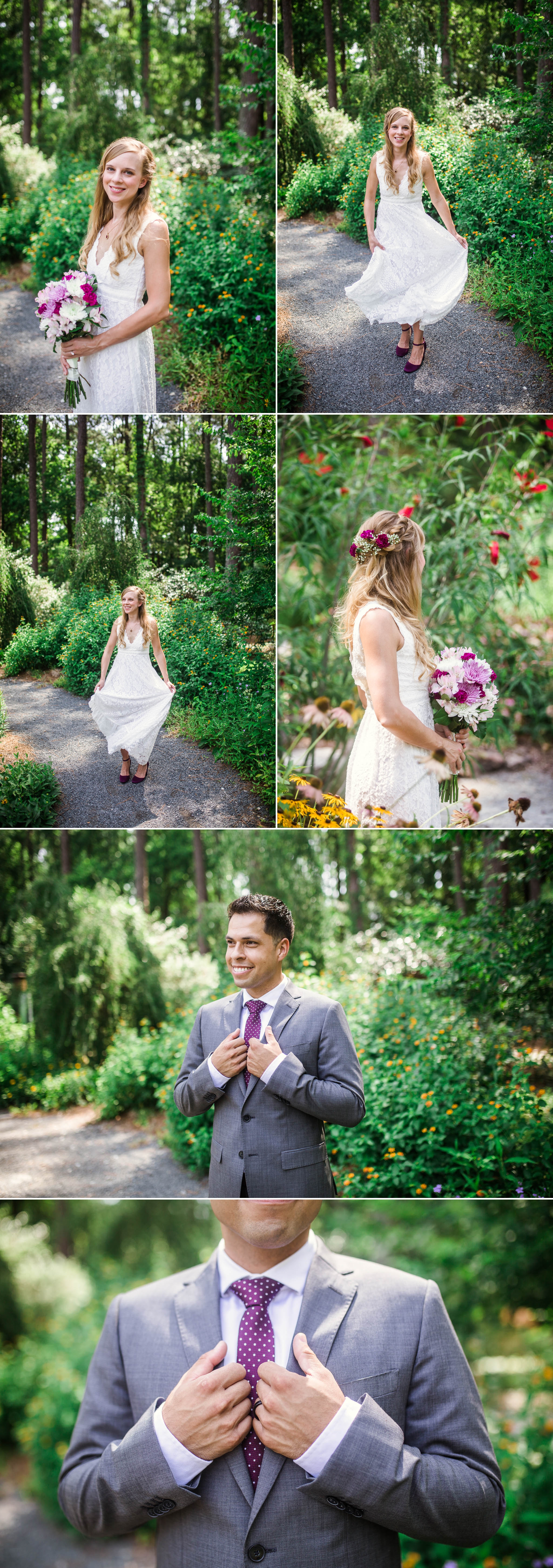 Portraits of Bride and Groom - Kelly and Adam - Elopement at the Cape Fear Botanical Gardens - Fayetteville North Carolina Wedding Photographer