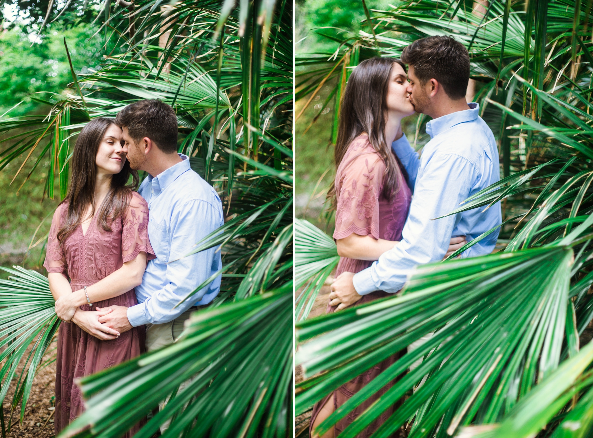 Tropical Engagement - Aryn + Tyler -  Photography Session at the JC Raulston Arboretum - Raleigh Wedding Photographer