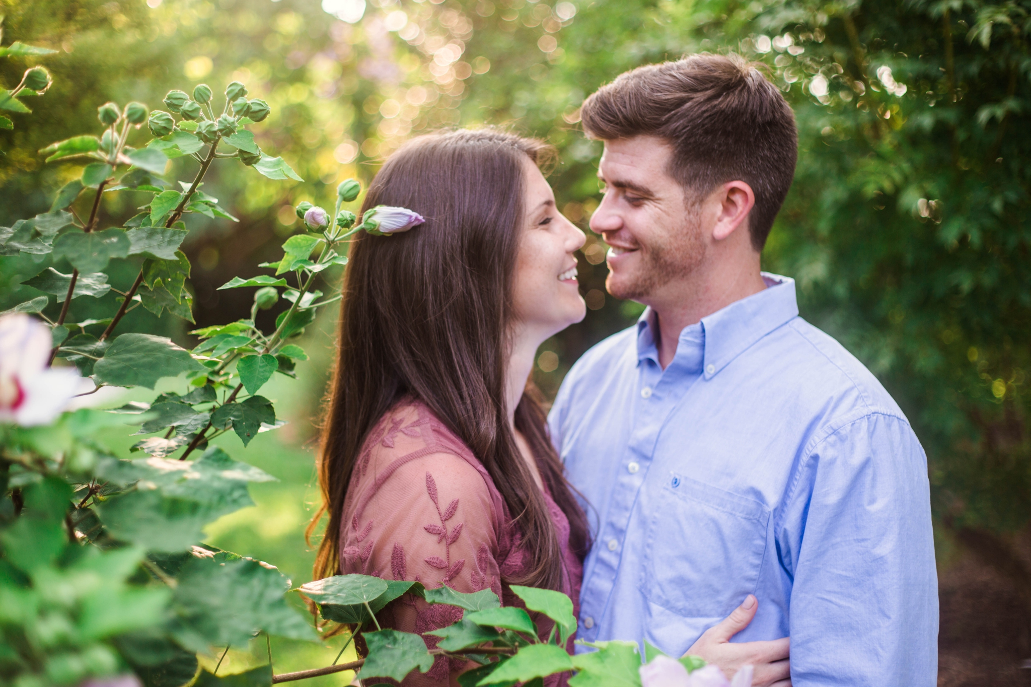 Golden Hour Engagement - Aryn + Tyler -  Photography Session at the JC Raulston Arboretum - Raleigh Wedding Photographer