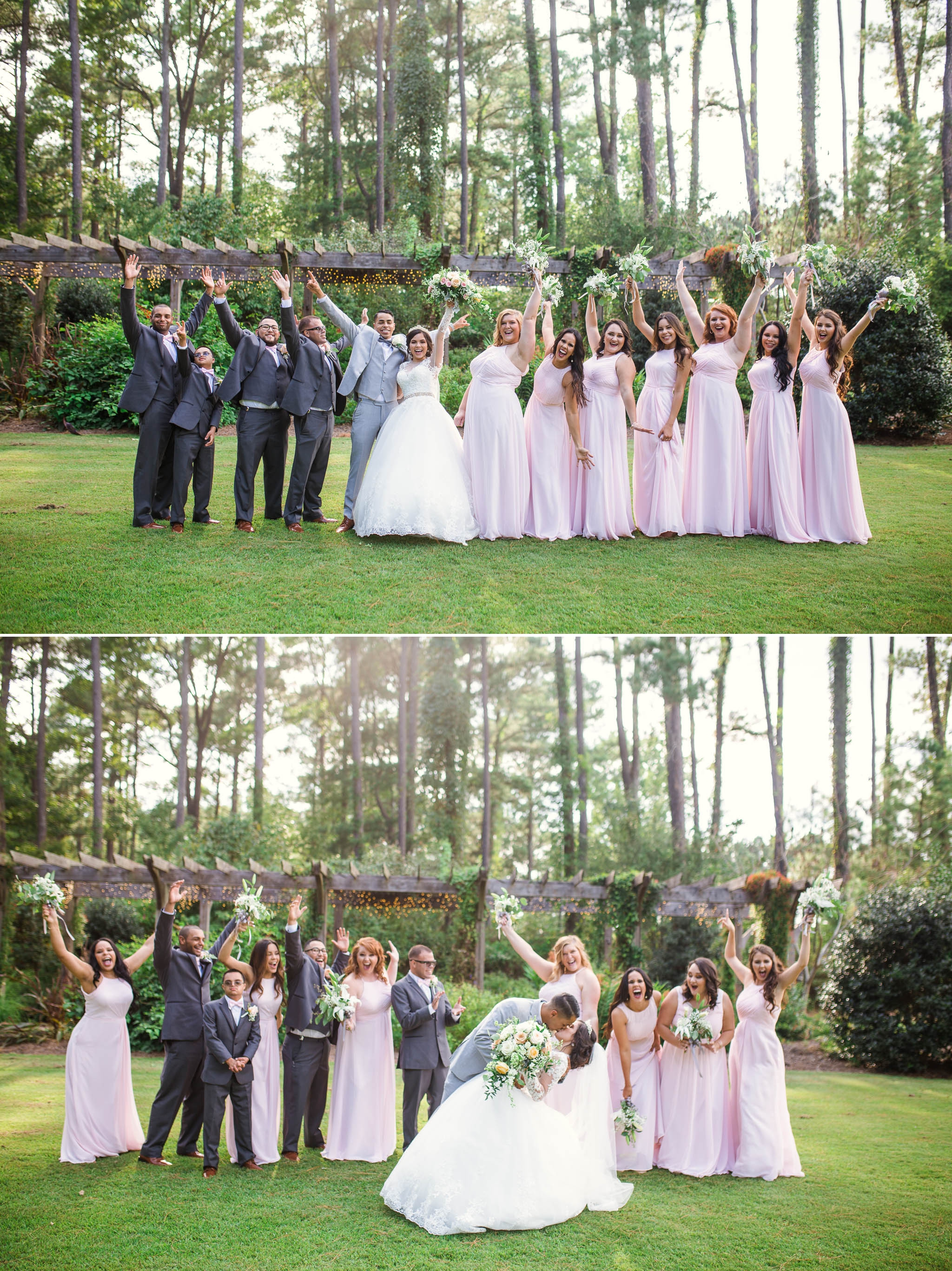 Wedding Party Portraits - Yansi + Eddie - Wedding at Cape Fear Botanical Garden - Fayetteville North Carolina Photographer