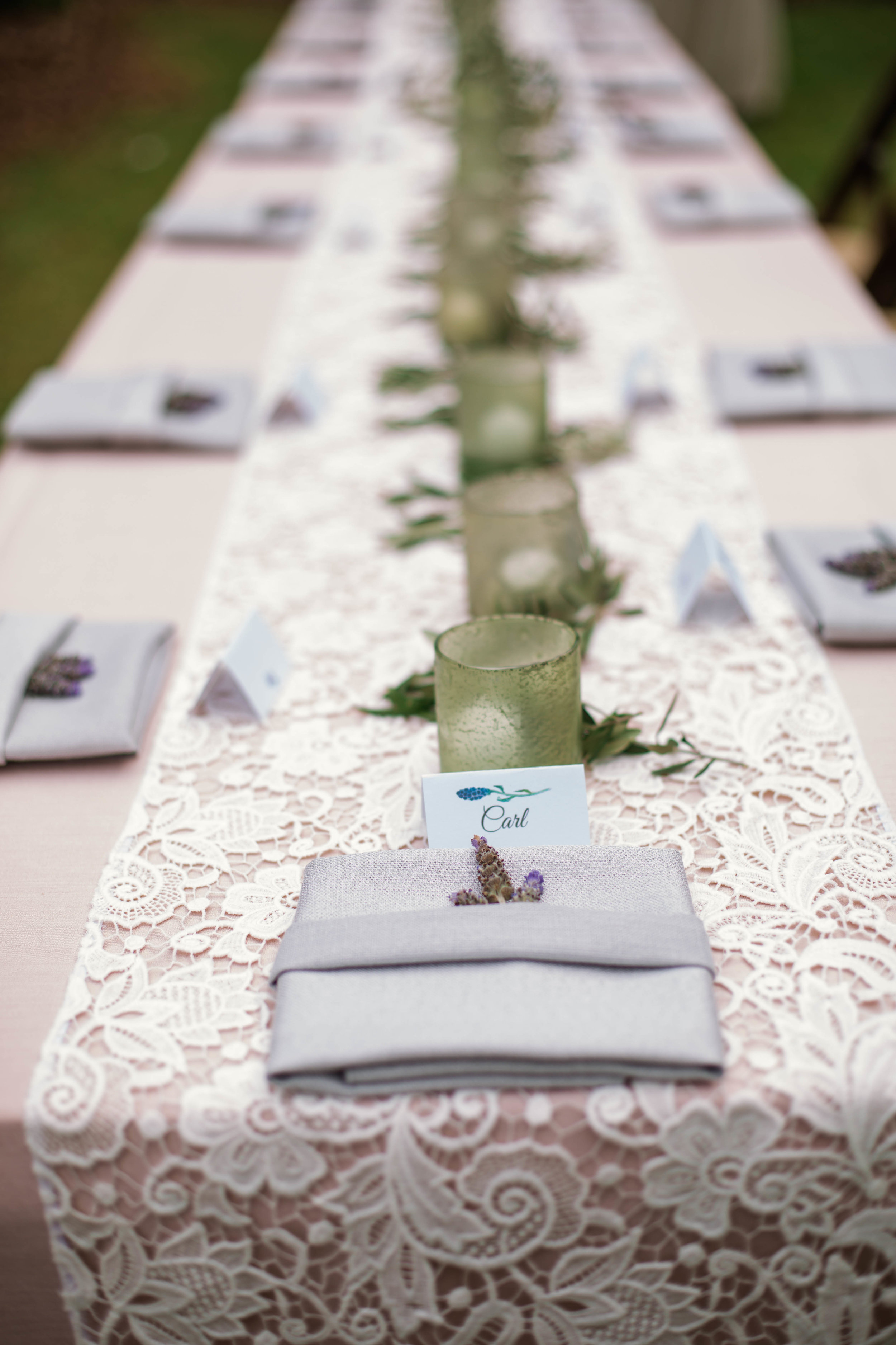 Lavender accents Table Setting - Spring Wedding at the Bradford in New Hill North Carolina