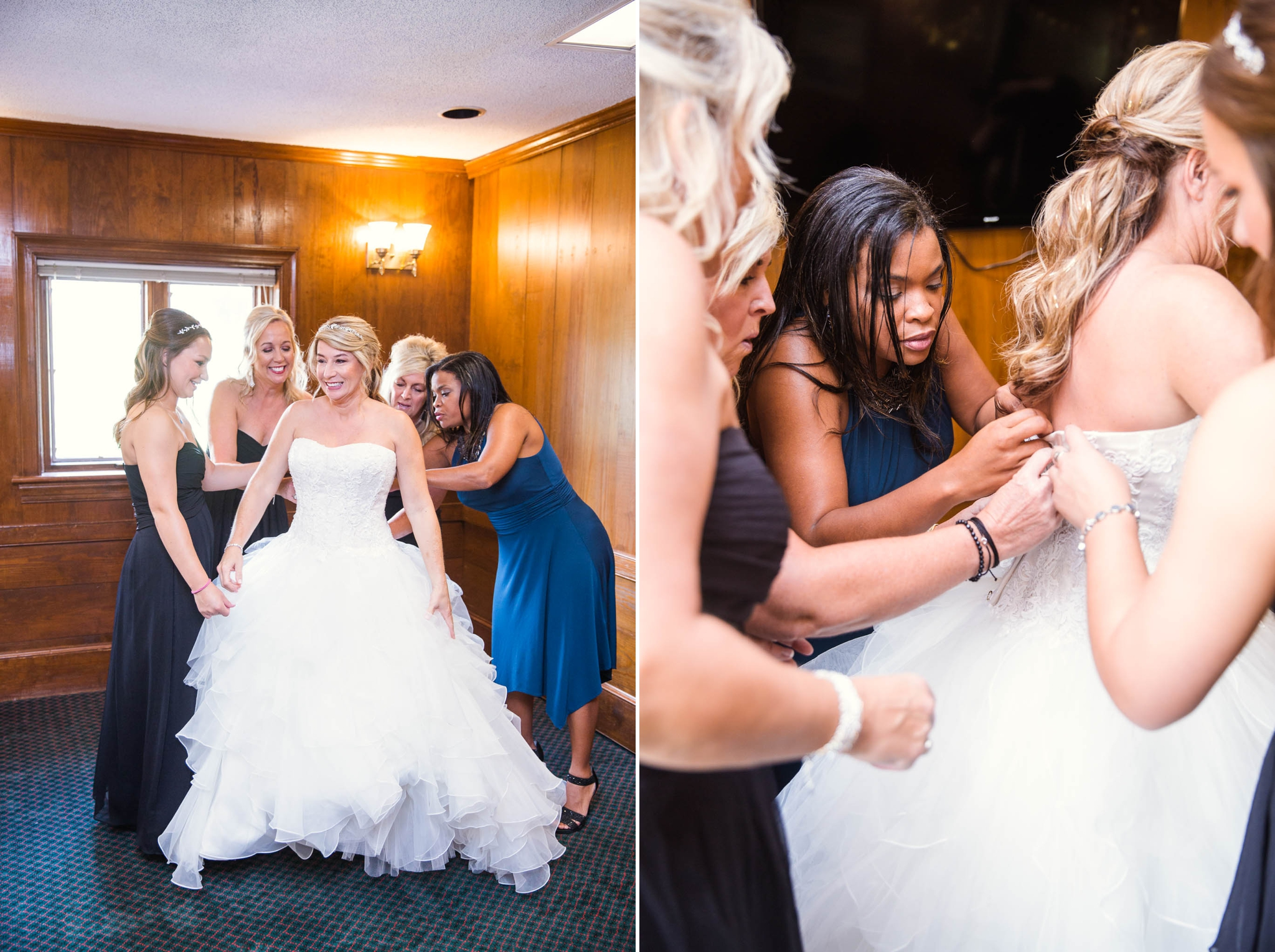 Bridesmaids helping the bride into the dress - Dona + Doug - MacGregor Downs Country Club in Cary, NC - Raleigh Wedding Photographer