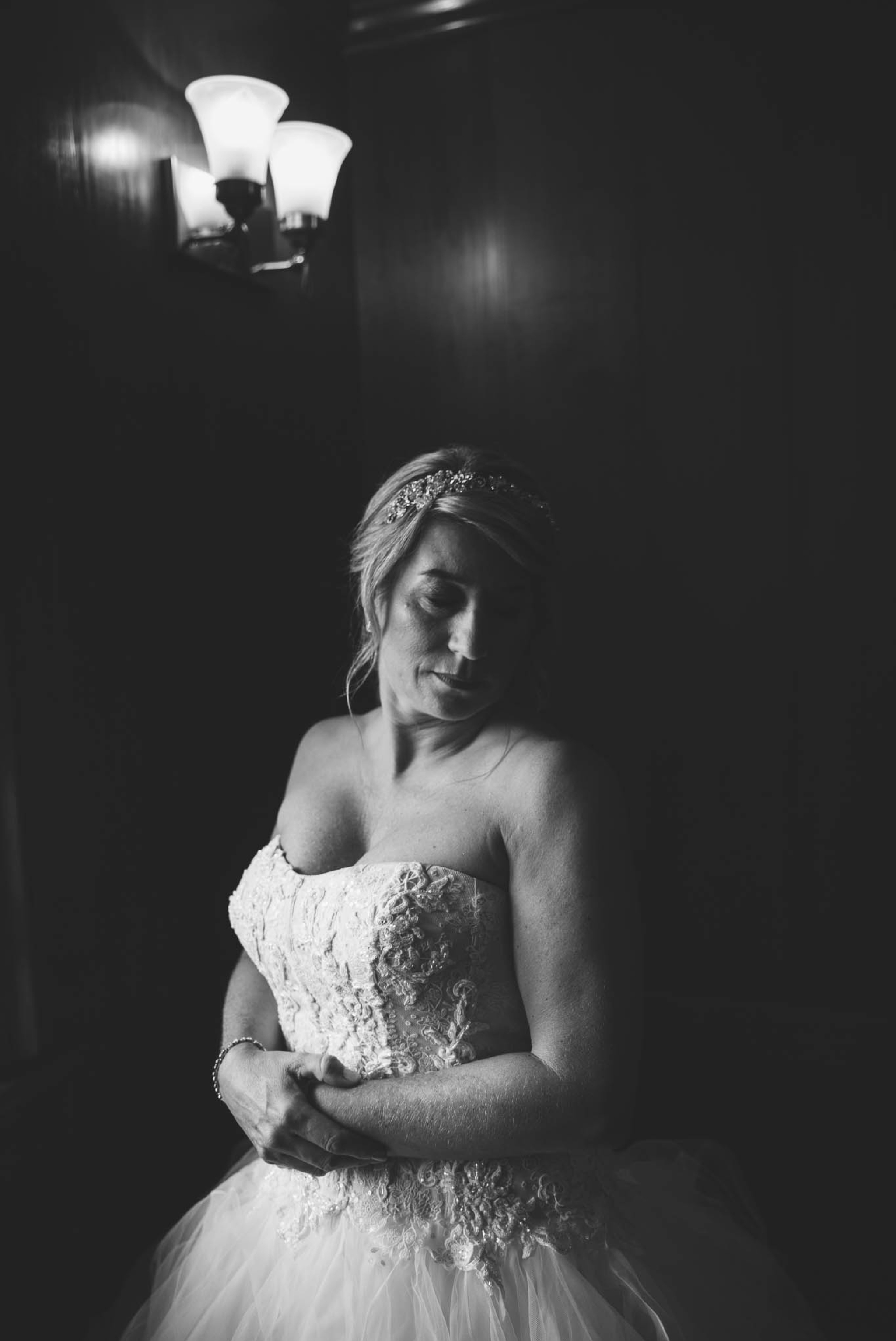 Bridal Portrait in black and white Dona + Doug - MacGregor Downs Country Club in Cary, NC - Raleigh Wedding Photographer
