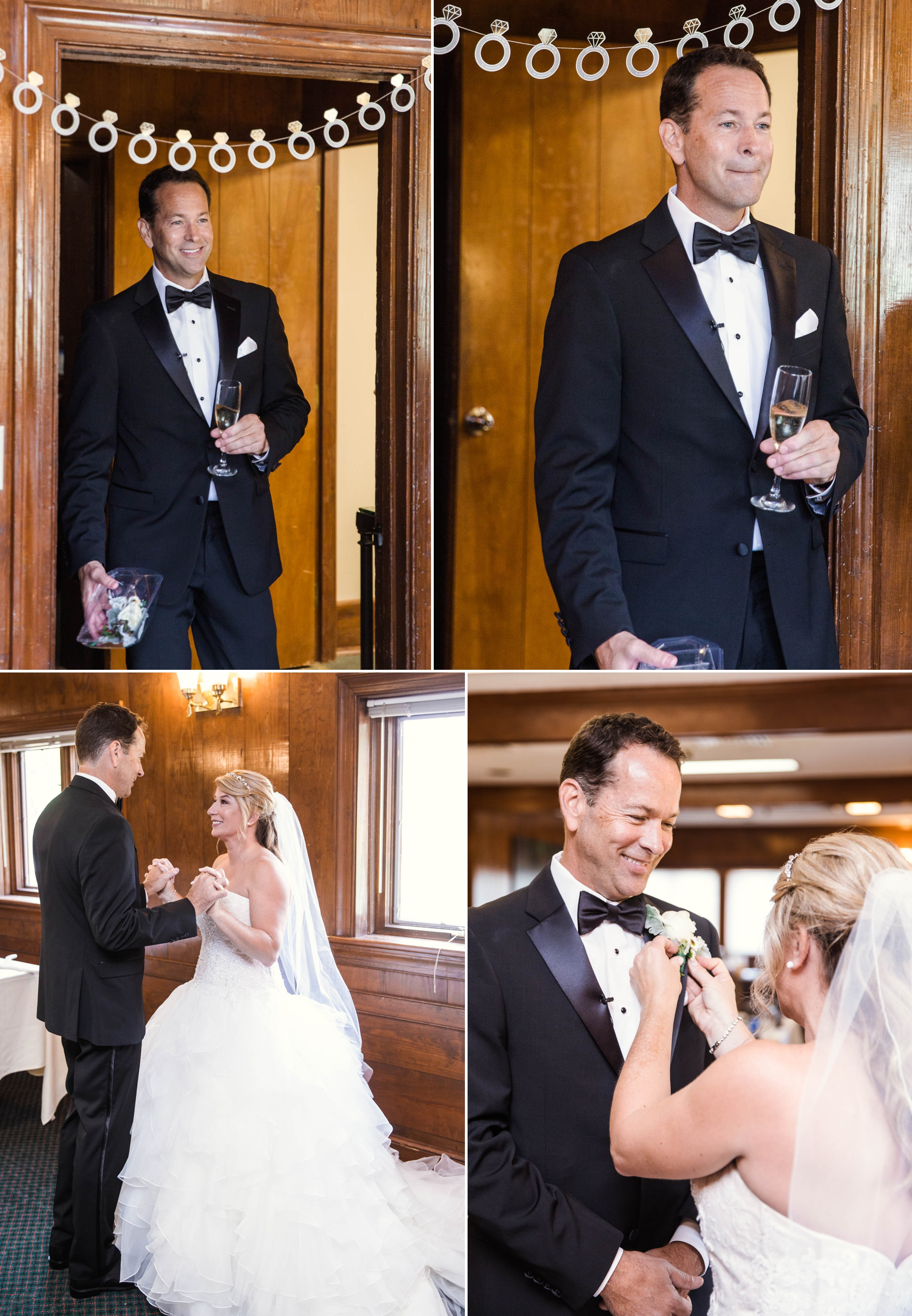 Groom seeing the bride for the first time - Dona + Doug - MacGregor Downs Country Club in Cary, NC - Raleigh Wedding Photographer