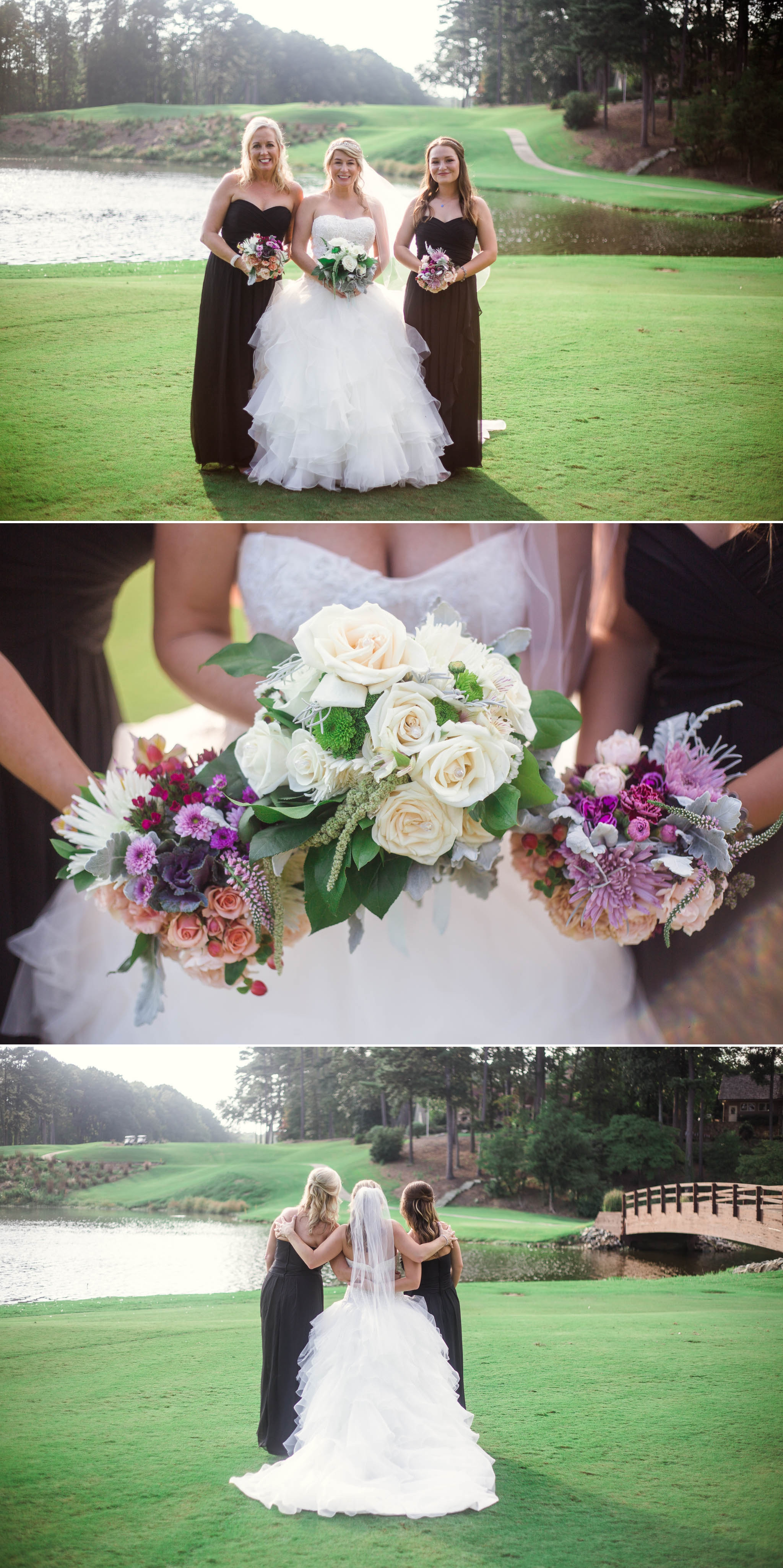 Bridesmaids with the bride - Dona + Doug - MacGregor Downs Country Club in Cary, NC - Raleigh Wedding Photographer