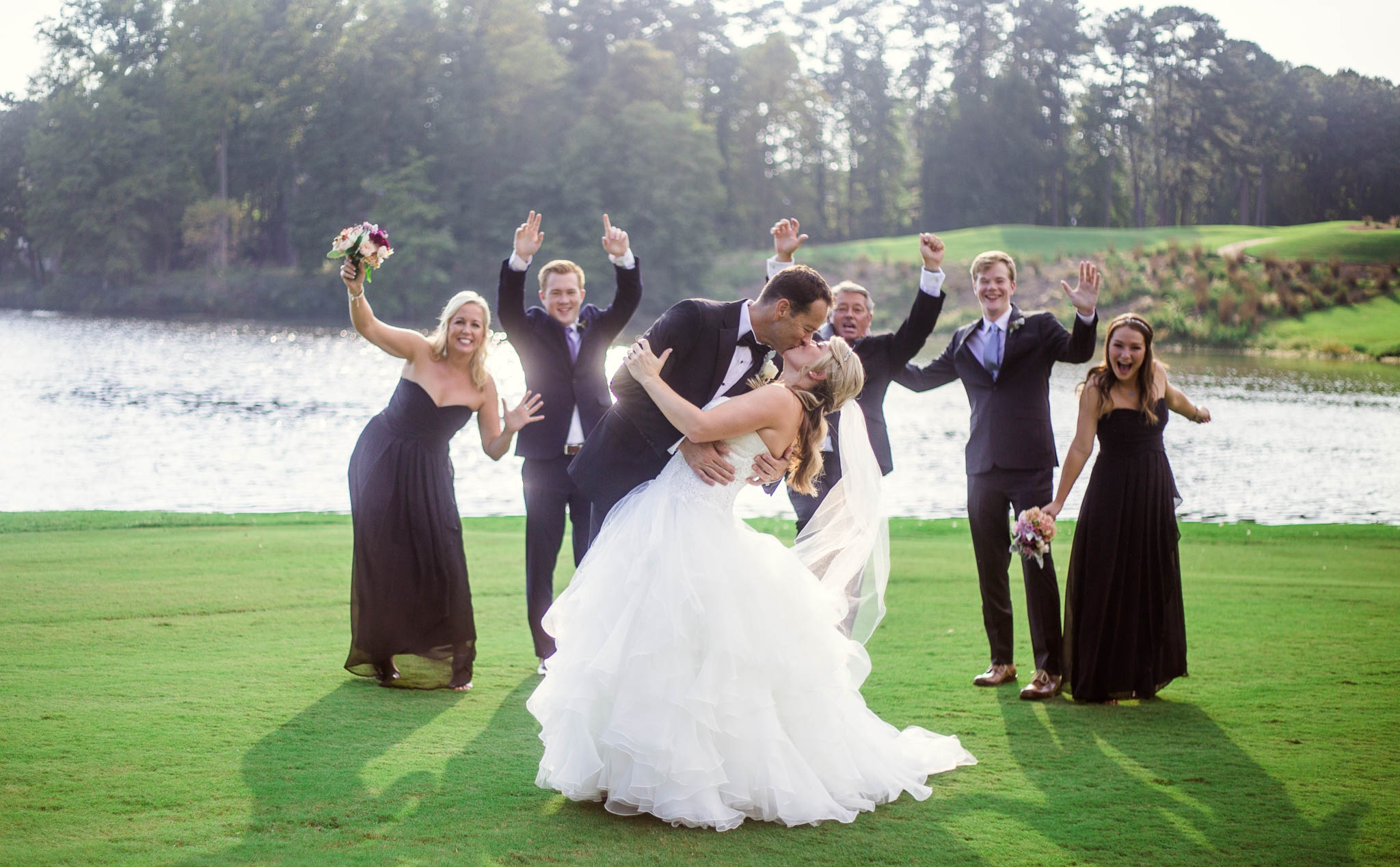 Wedding Party with Bride and Groom - Dona + Doug - MacGregor Downs Country Club in Cary, NC - Raleigh Wedding Photographer