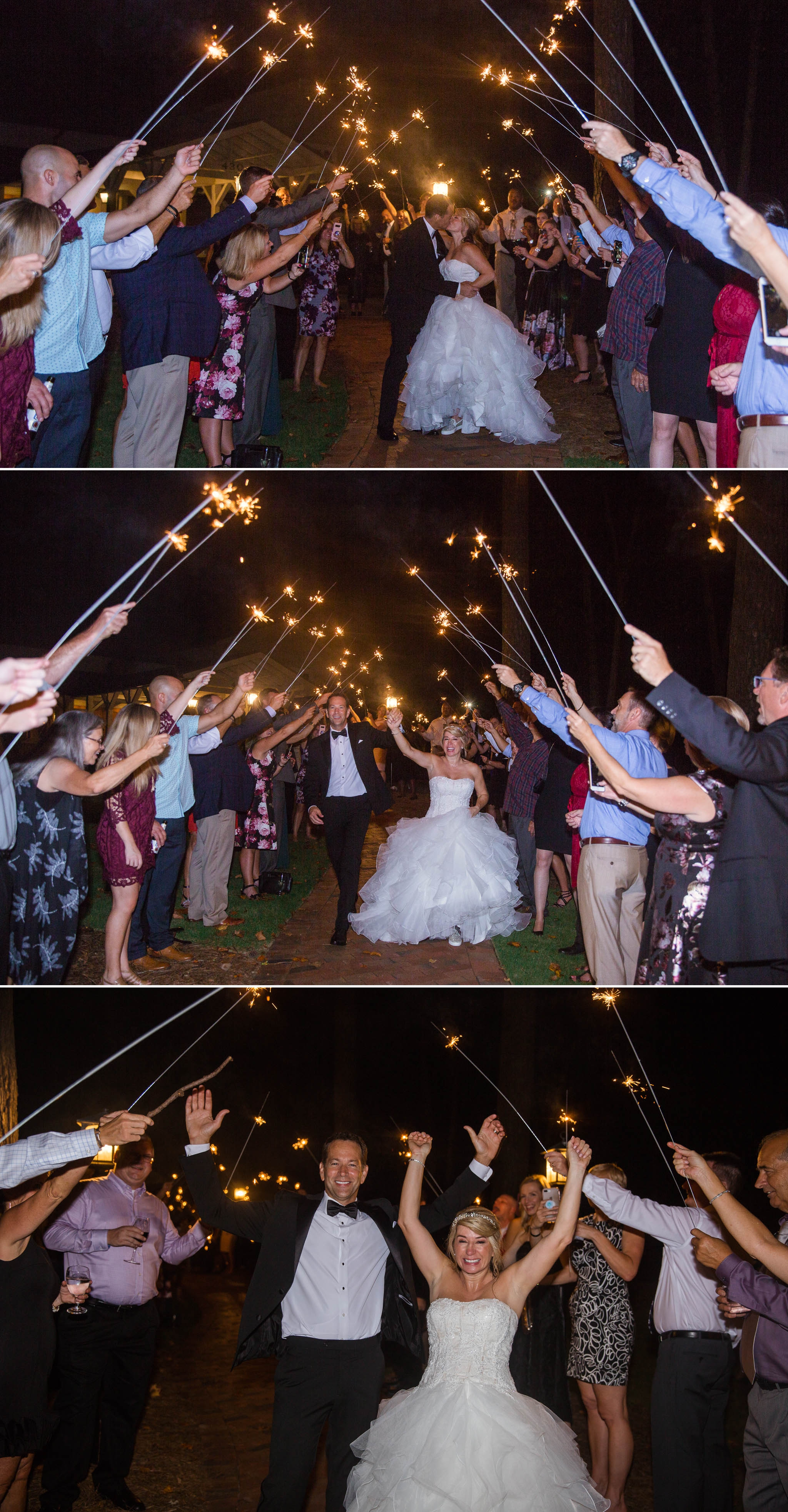 Sparkler Exit - Dona + Doug - MacGregor Downs Country Club in Cary, NC - Raleigh Wedding Photographer