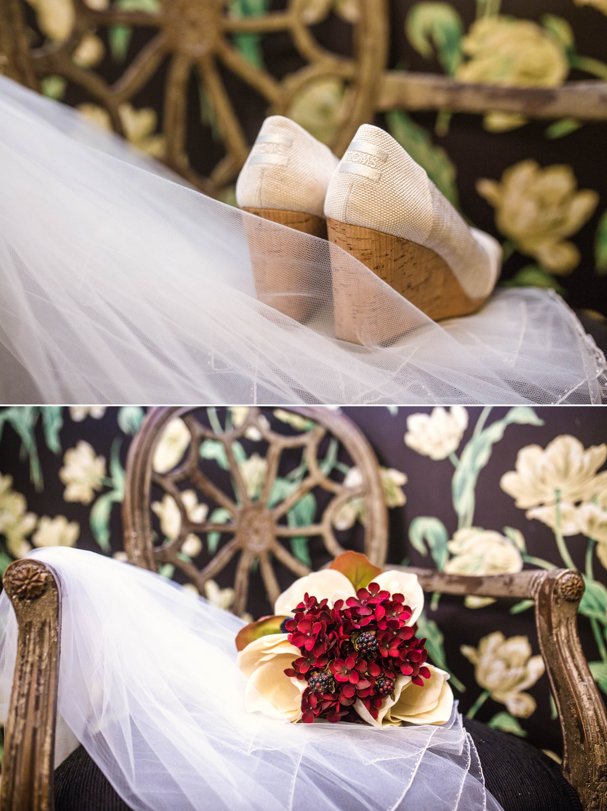The Wedding Shoes and Bridal bouquet - Meredith + Jason - The Crest Center and Pavilion in Asheville, NC - Raleigh Wedding Photographer