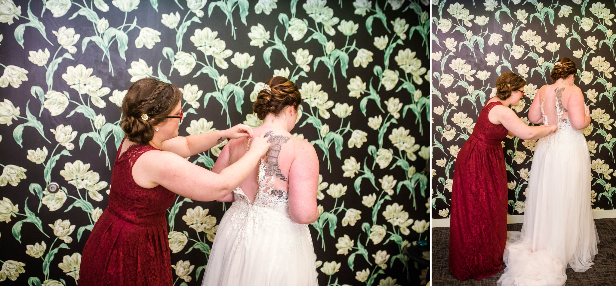 Bride getting into her Dress - Meredith + Jason - The Crest Center and Pavilion in Asheville, NC - Raleigh Wedding Photographer