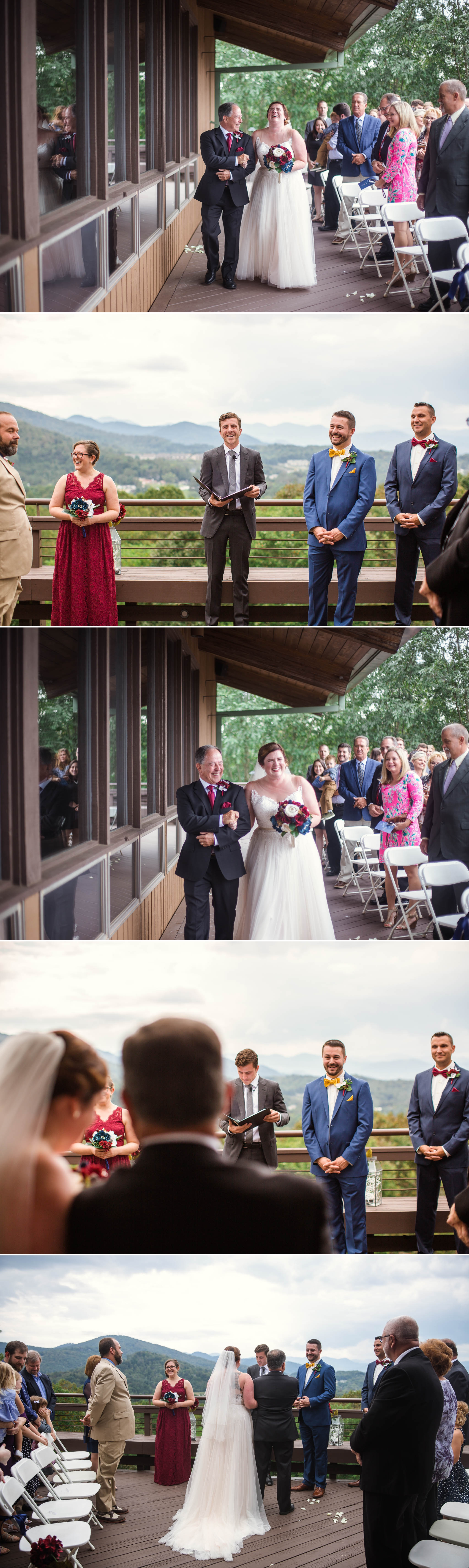 Wedding Ceremony overlooking the Blue Ridge Mountains - Meredith + Jason - The Crest Center and Pavilion in Asheville, NC - Raleigh Wedding Photographer