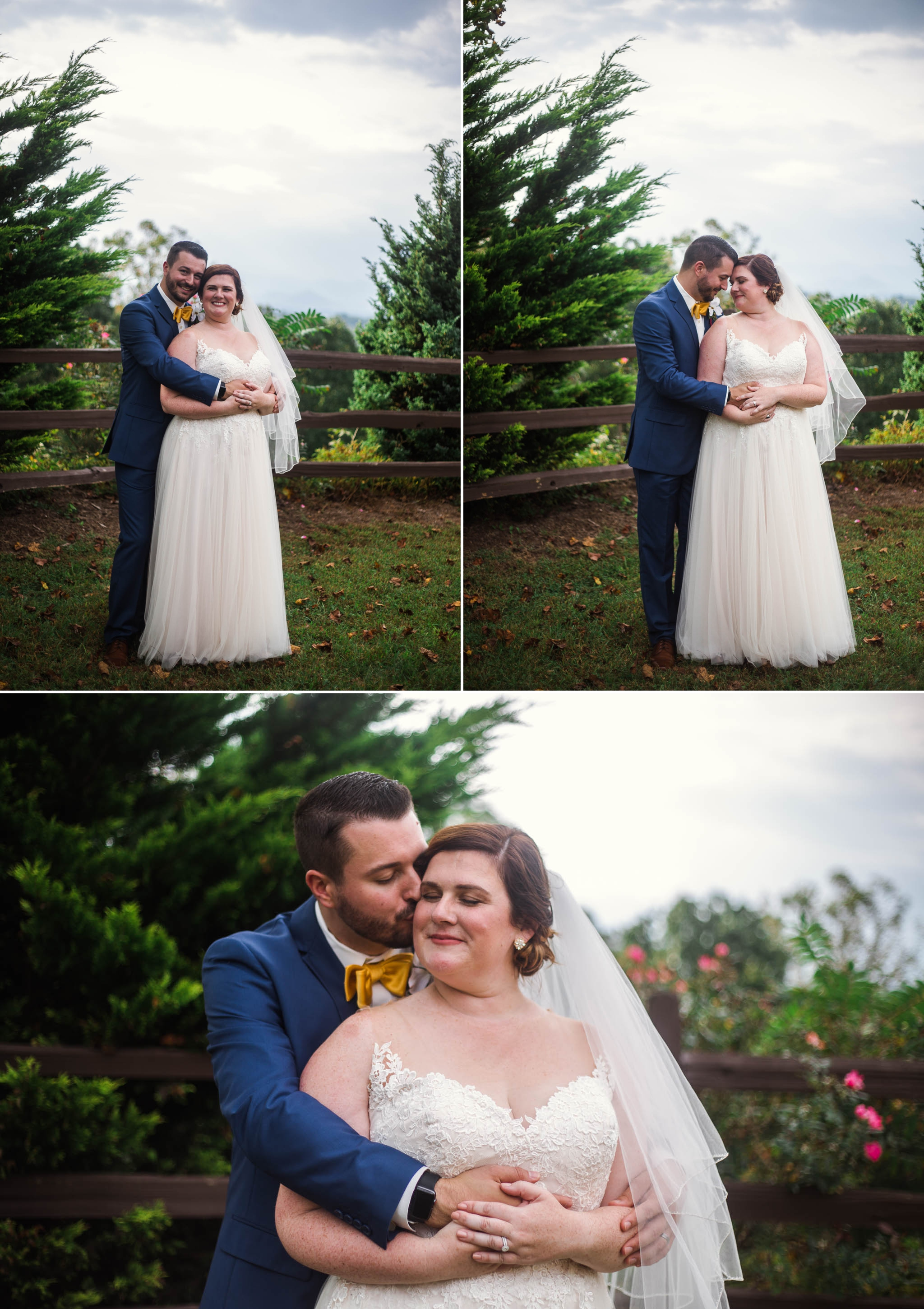 Portraits of Bride and groom overlooking the Blue Ridge Mountains - Meredith + Jason - The Crest Center and Pavilion in Asheville, NC - Raleigh Wedding Photographer