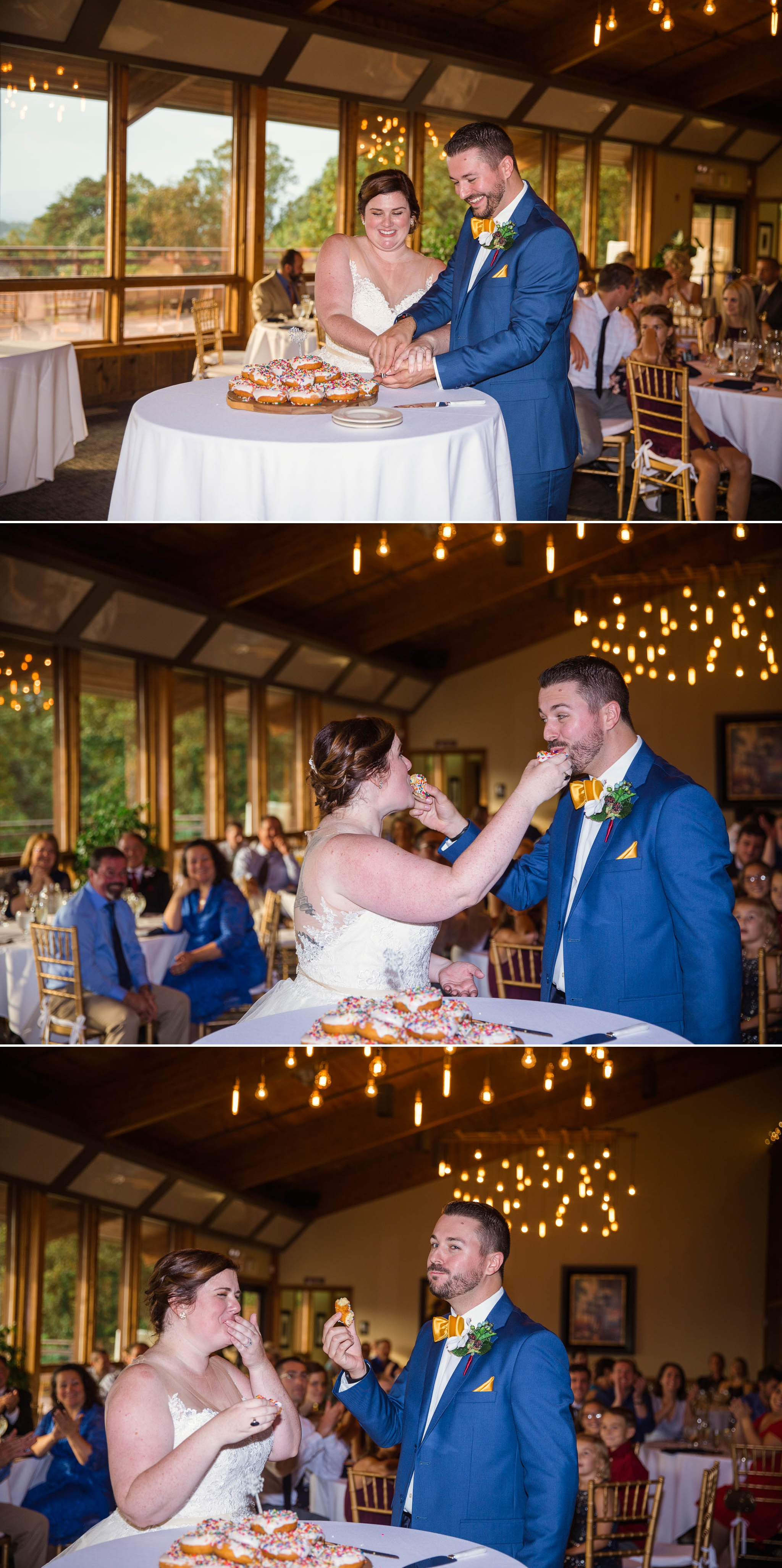 Bride and Groom cutting a donut - Meredith + Jason - The Crest Center and Pavilion in Asheville, NC - Raleigh Wedding Photographer