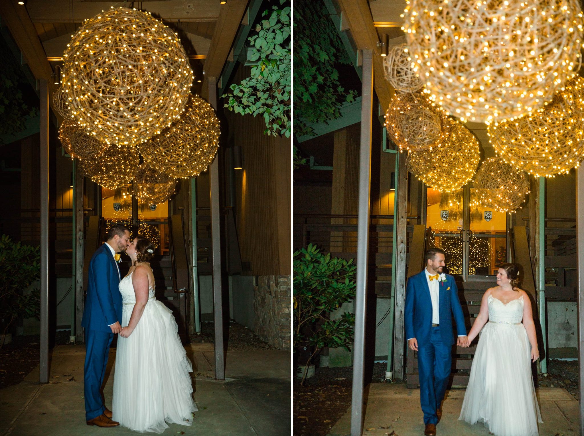 Night time Picture of Bride and Groom - Meredith + Jason - The Crest Center and Pavilion in Asheville, NC - Raleigh Wedding Photographer