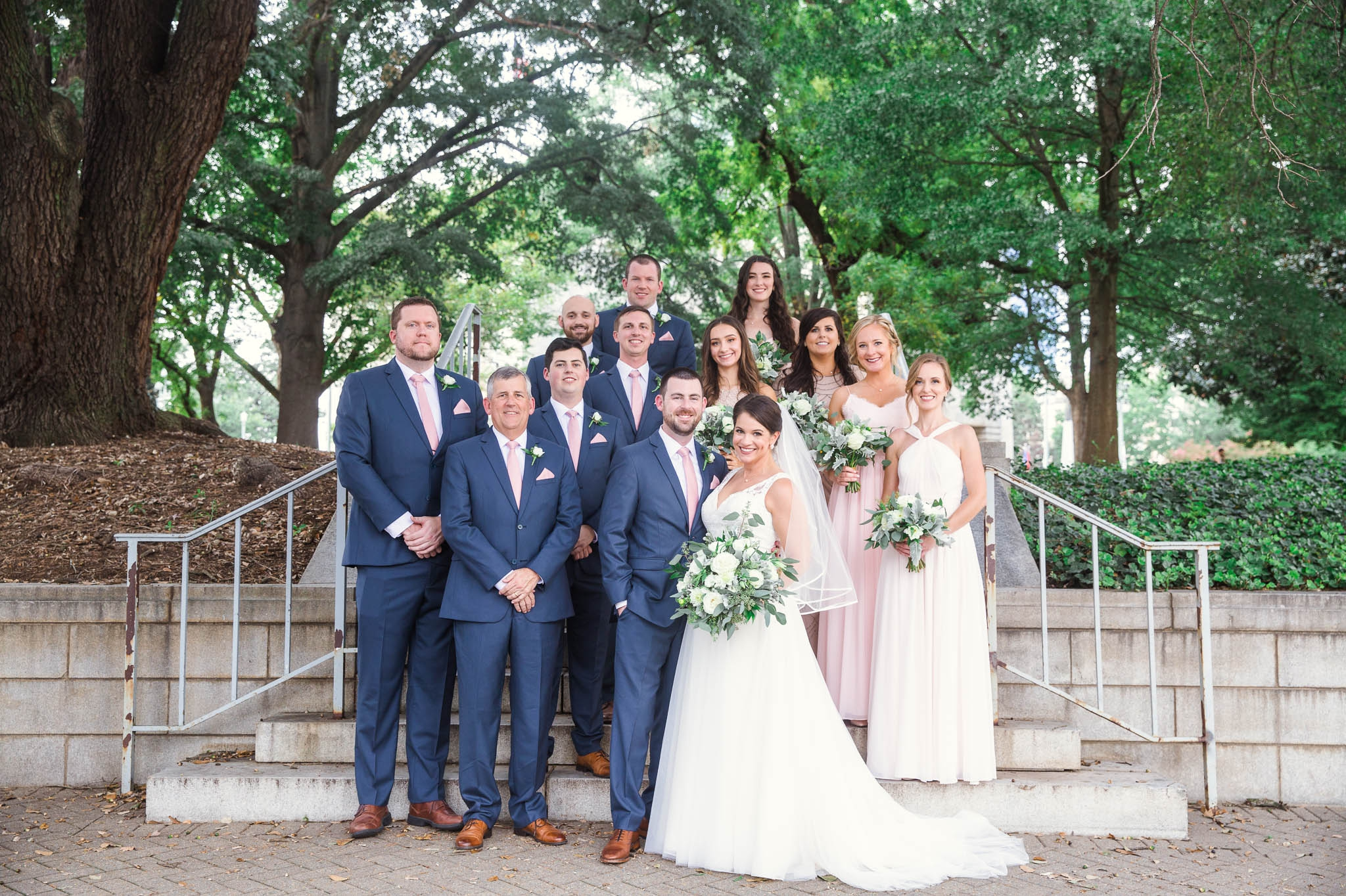 The Wedding Party at Moore Square Downtown - Clare + Wallace - The Jiddy Space - Raleigh North Carolina Wedding Photographer