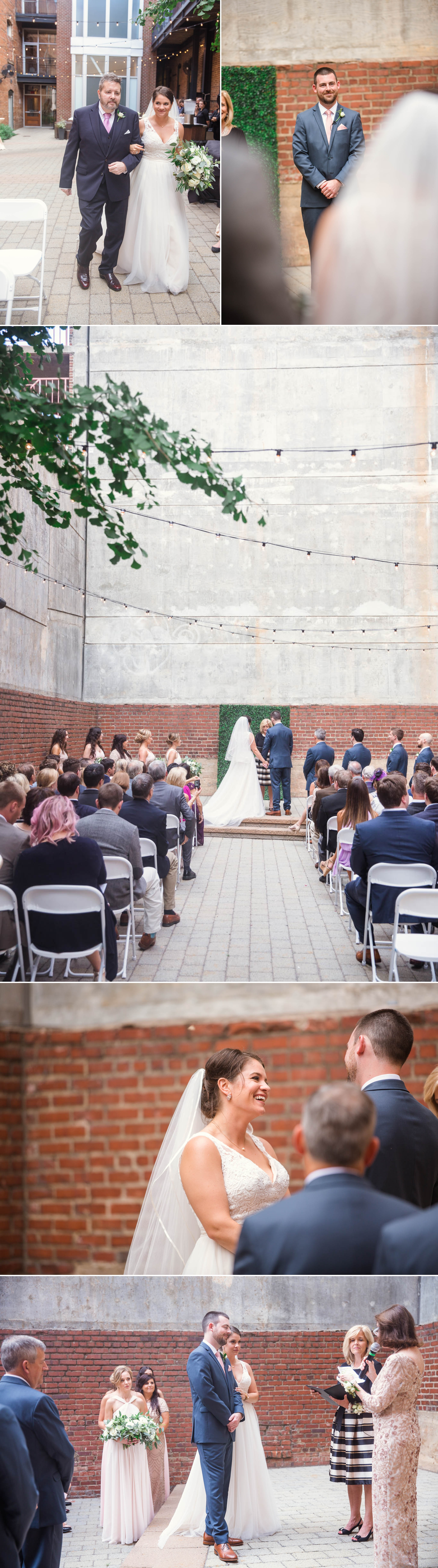 Downtown Industrial Wedding Ceremony at Clare + Wallace - The Jiddy Space - Raleigh North Carolina Wedding Photographer
