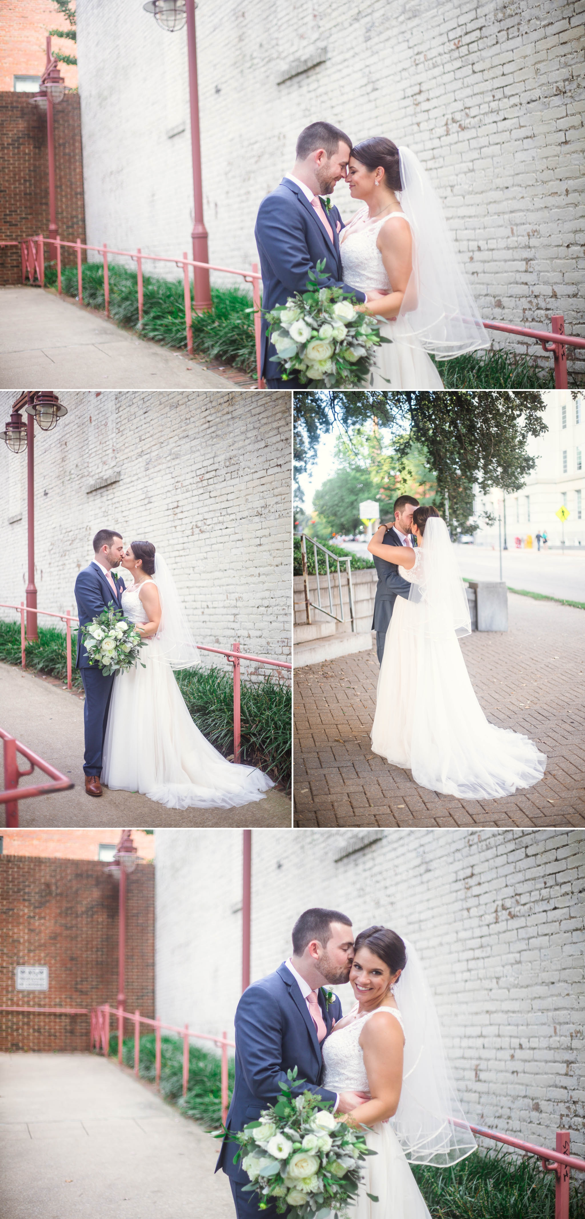 Portraits of Bride and Groom Downtown Raleigh - Clare + Wallace - The Jiddy Space - Raleigh North Carolina Wedding Photographer