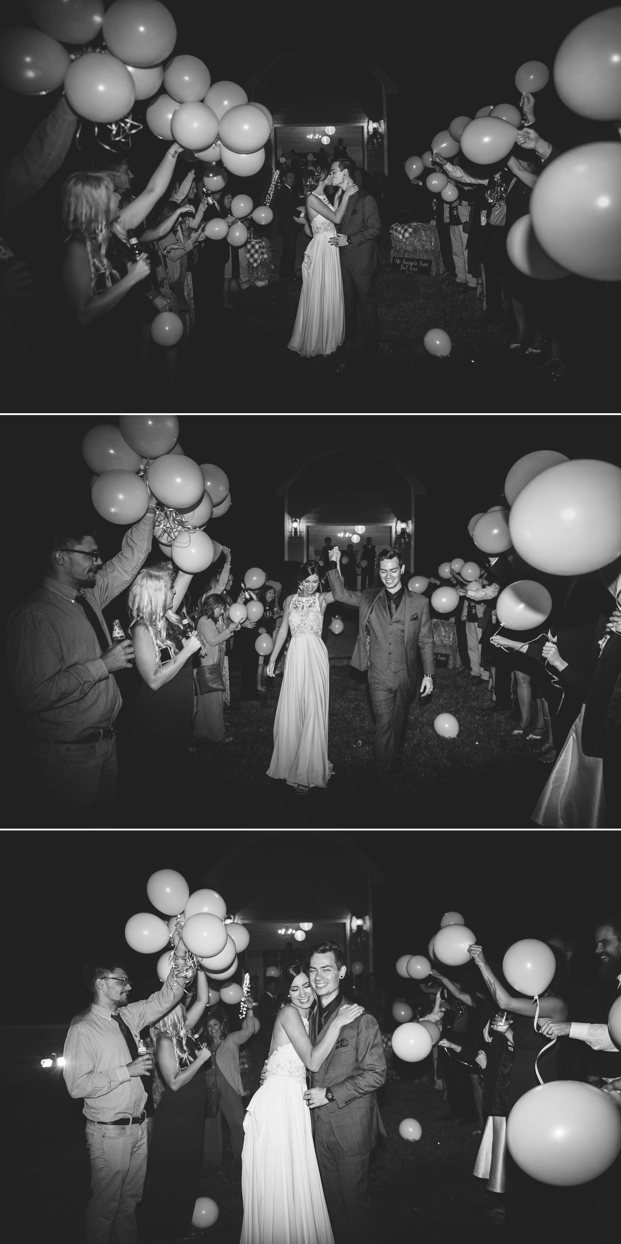 Balloon Exit - Brittany + Greg - The Groomes Place - Charlotte, NC Wedding Photographer