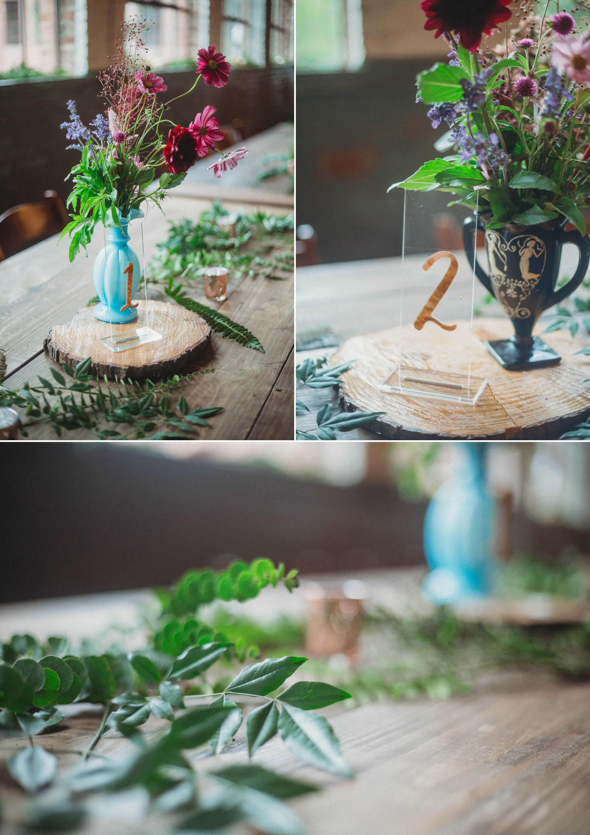 Vintage Vase Table Wedding Decorations - Brittany + Douglas - Forest Hall at Chatham Mills in Pittsboro, NC - Raleigh North Carolina Wedding Photographer