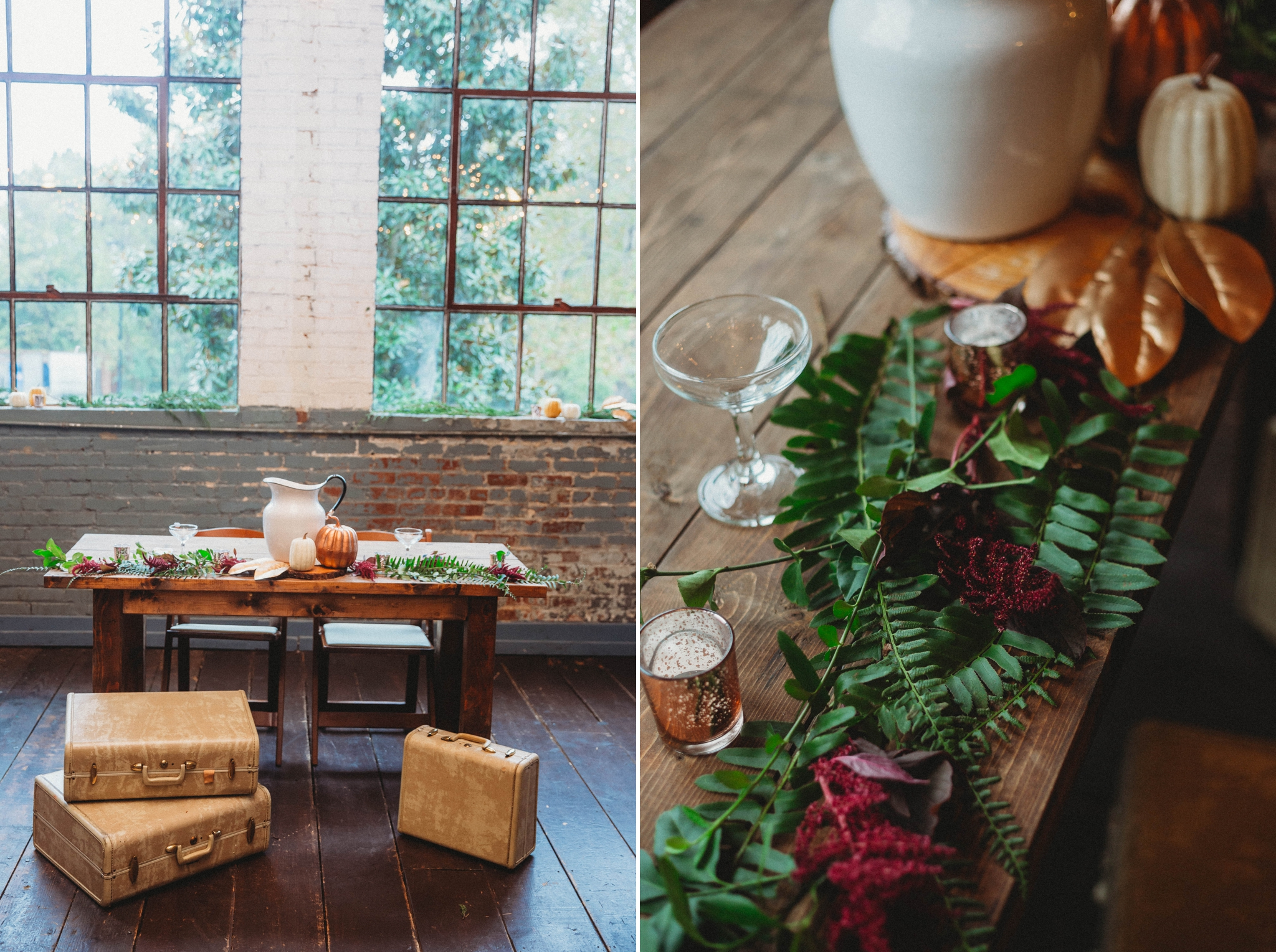 Sweetheart table decorated with vintage vases and suitcases, antiques -  Brittany + Douglas - Forest Hall at Chatham Mills in Pittsboro, NC - Raleigh North Carolina Wedding Photographer
