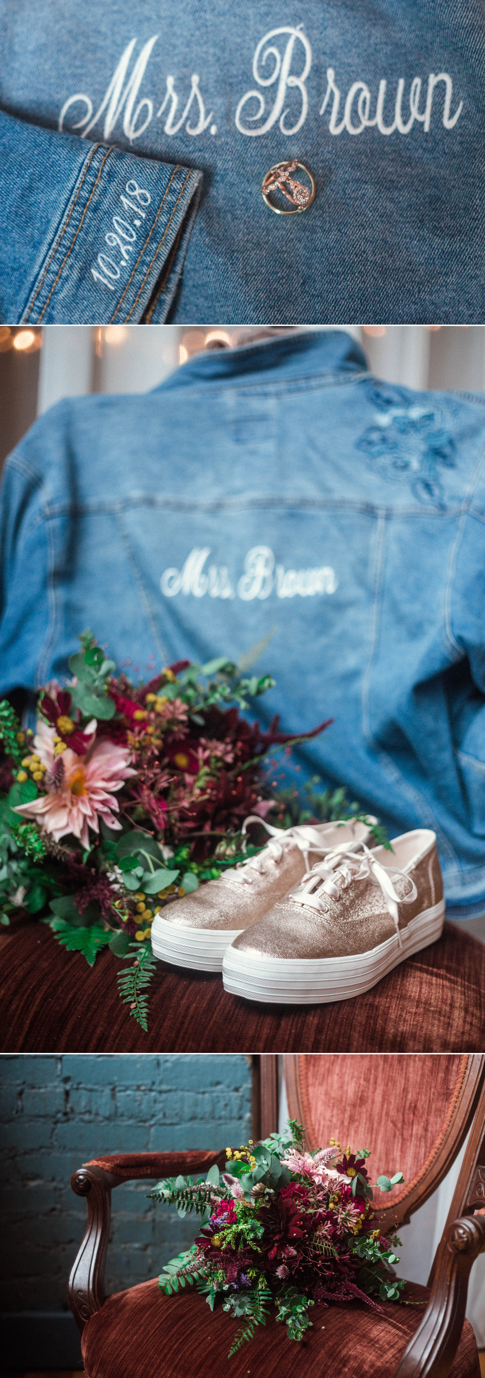Bridal Jean Jacket, Bridal Glitter Vans - Brittany + Douglas - Forest Hall at Chatham Mills in Pittsboro, NC - Raleigh North Carolina Wedding Photographer