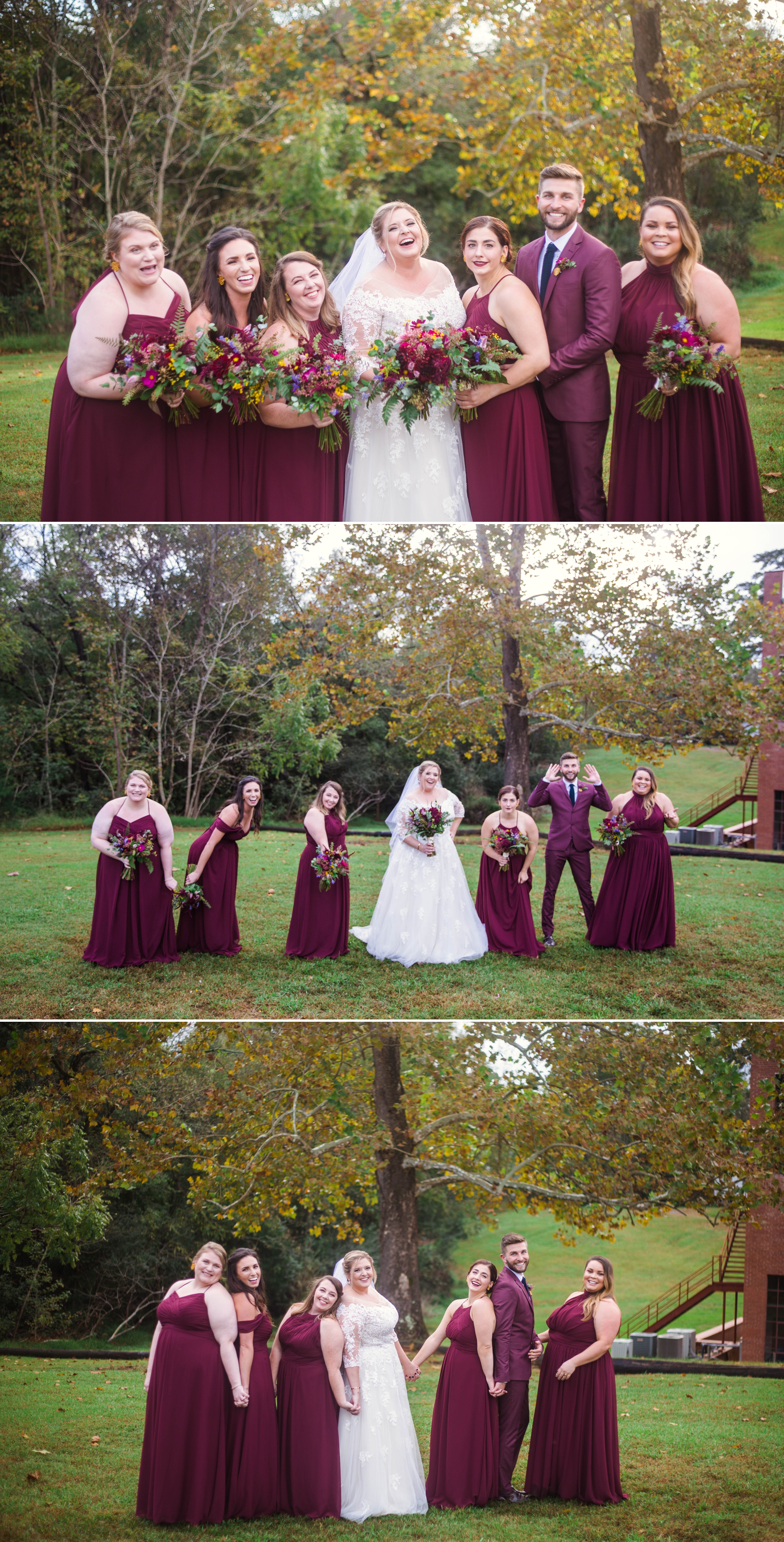 Bridesmaids Portraits in Burgundy Dresses - Brittany + Douglas - Forest Hall at Chatham Mills in Pittsboro, NC - Raleigh North Carolina Wedding Photographer