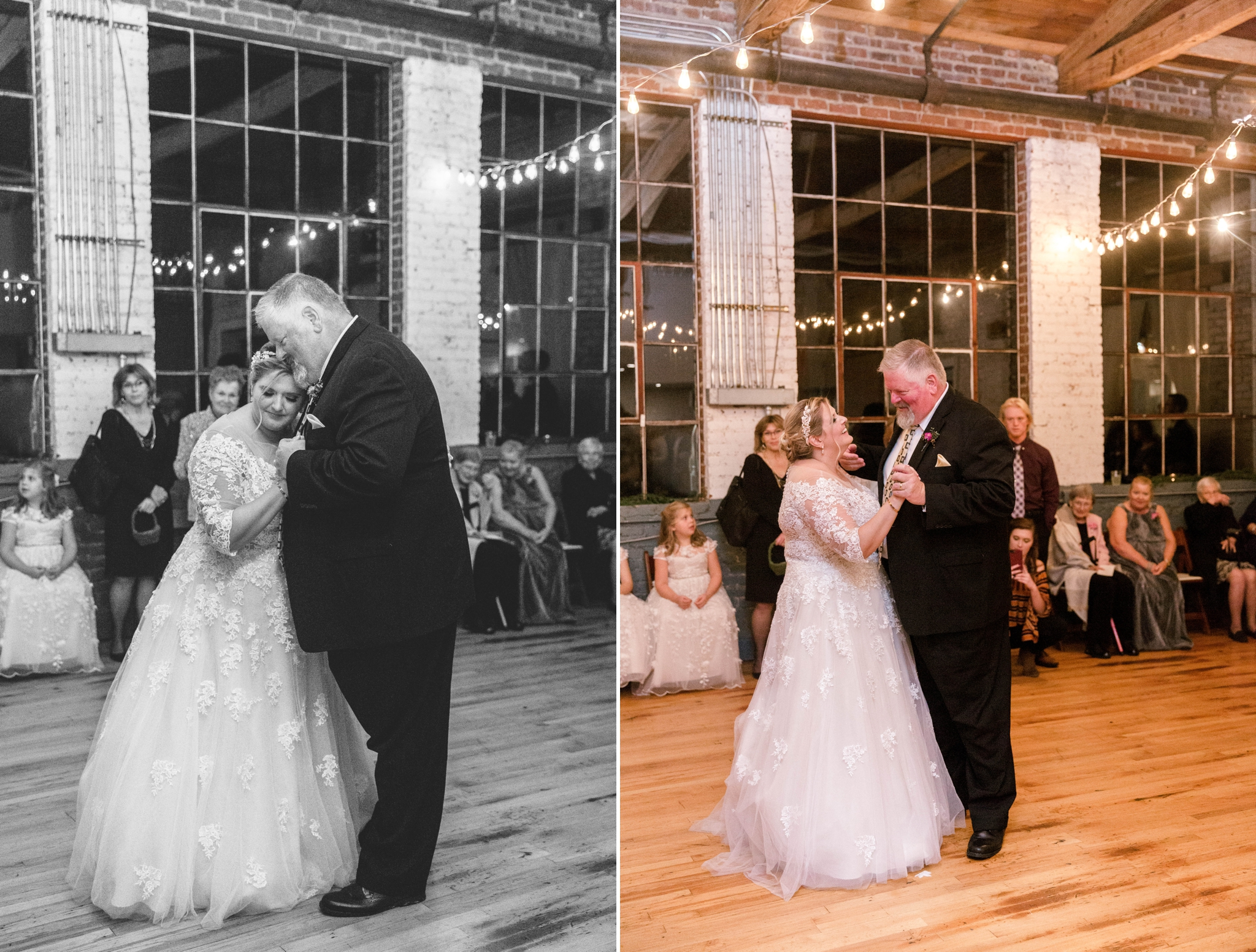 First Dance between Bride and Father - Brittany + Douglas - Forest Hall at Chatham Mills in Pittsboro, NC - Raleigh North Carolina Wedding Photographer