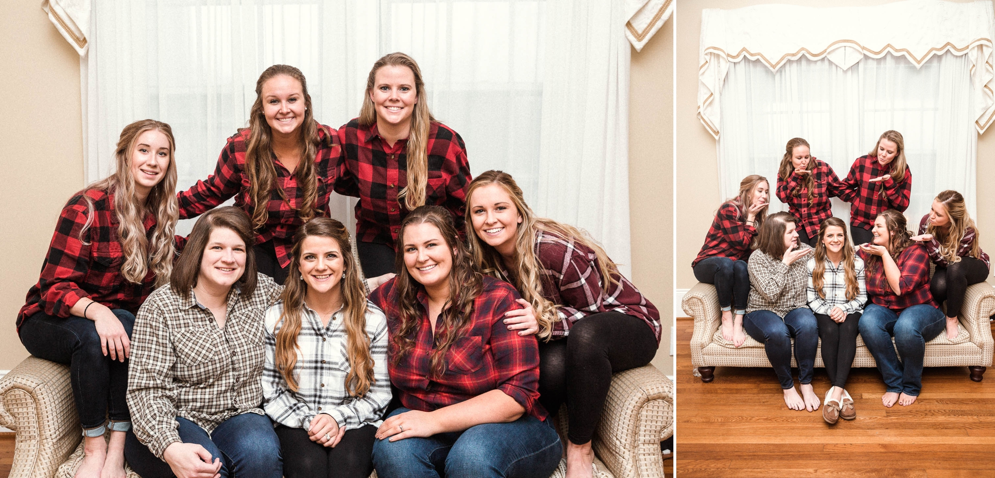 bridesmaids in flannels before the ceremony - Jessica + Brandon - Snowy Winter Wedding at the Rand Bryan House in Garner, NC - Raleigh North Carolina Wedding Photographer